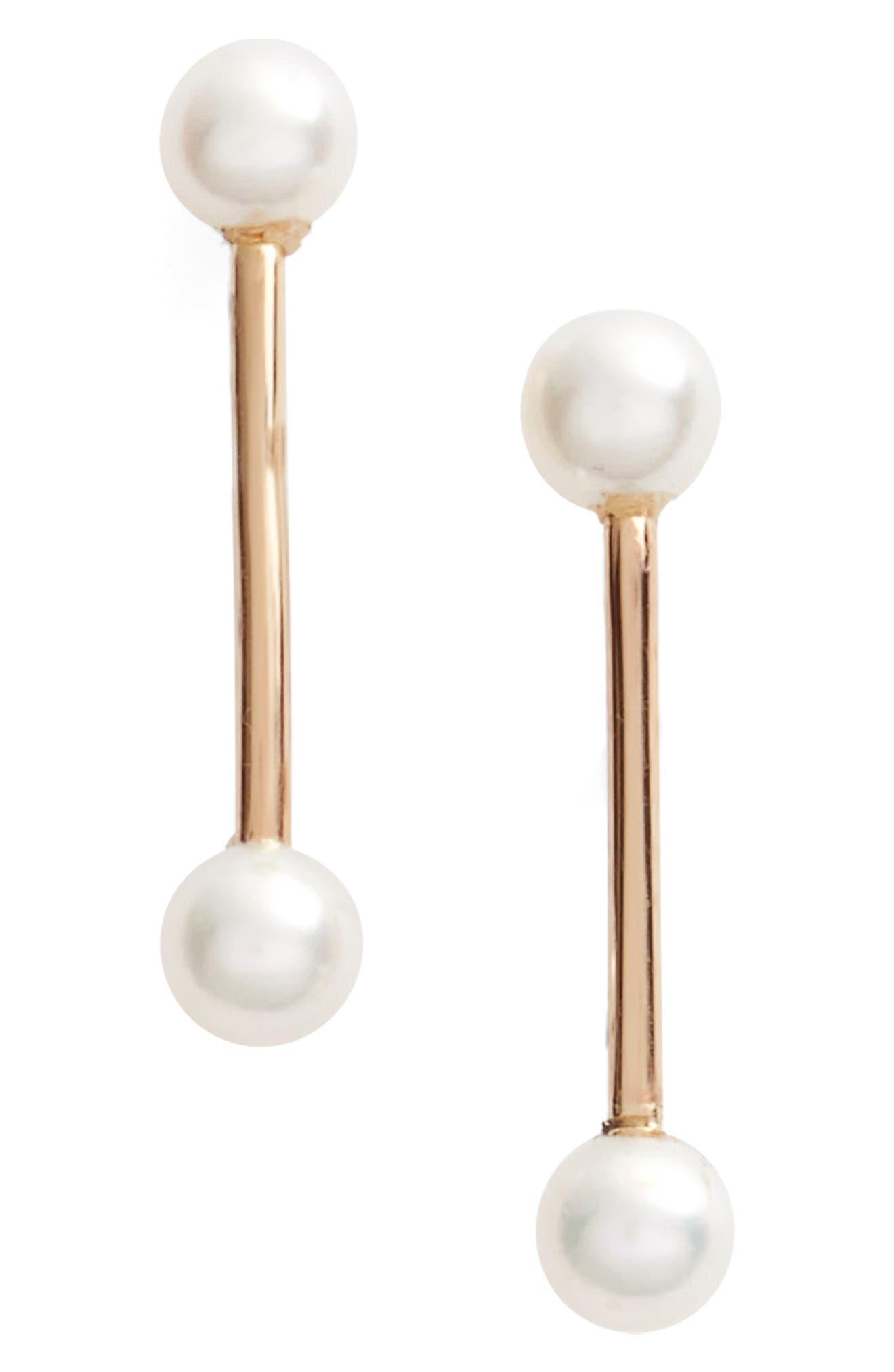 Poppy Finch Pearl Bar Stud Earrings