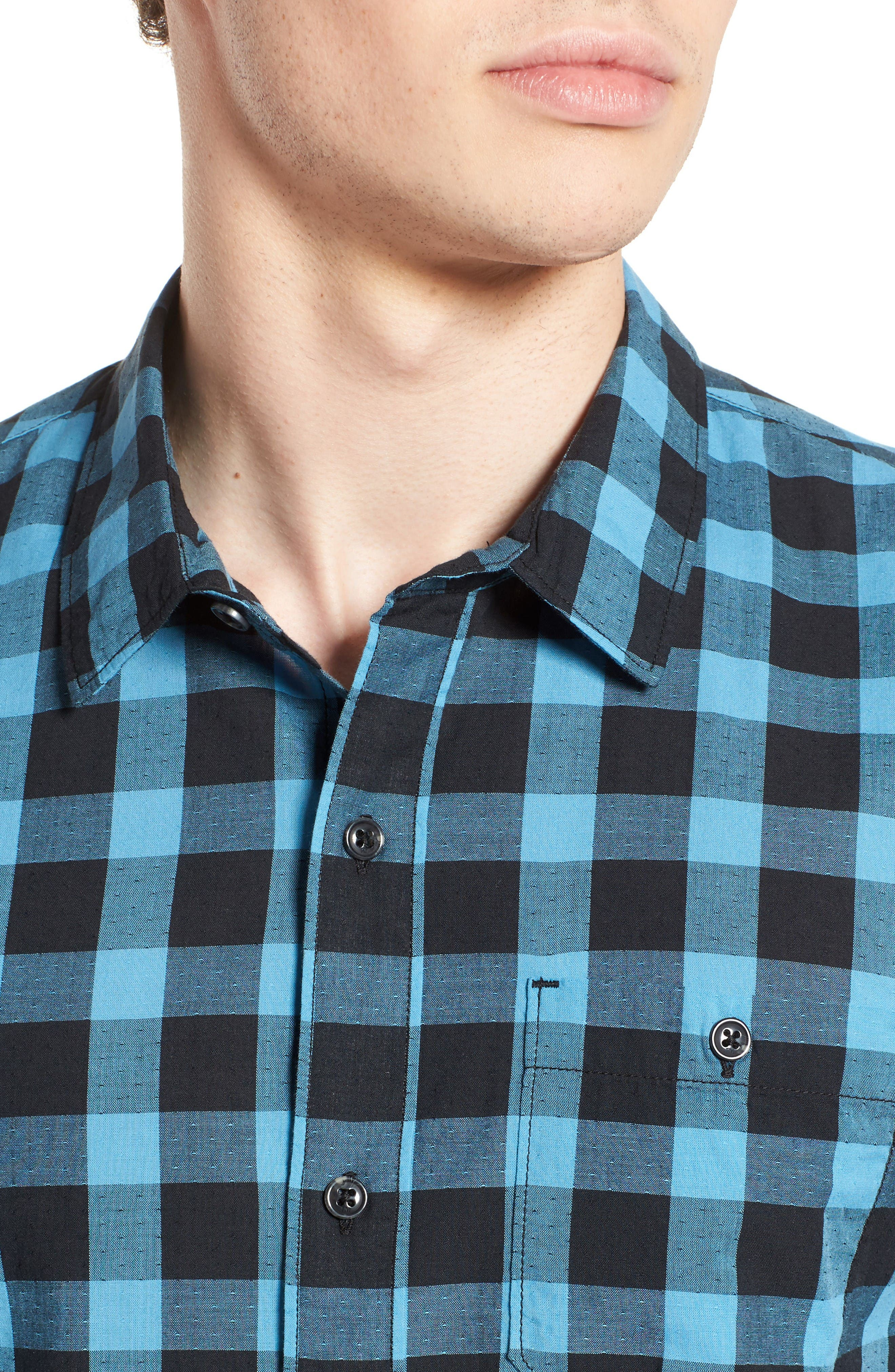 Alternate Image 4  - Travis Mathew Big Cree Slim Fit Dobby Check Sport Shirt