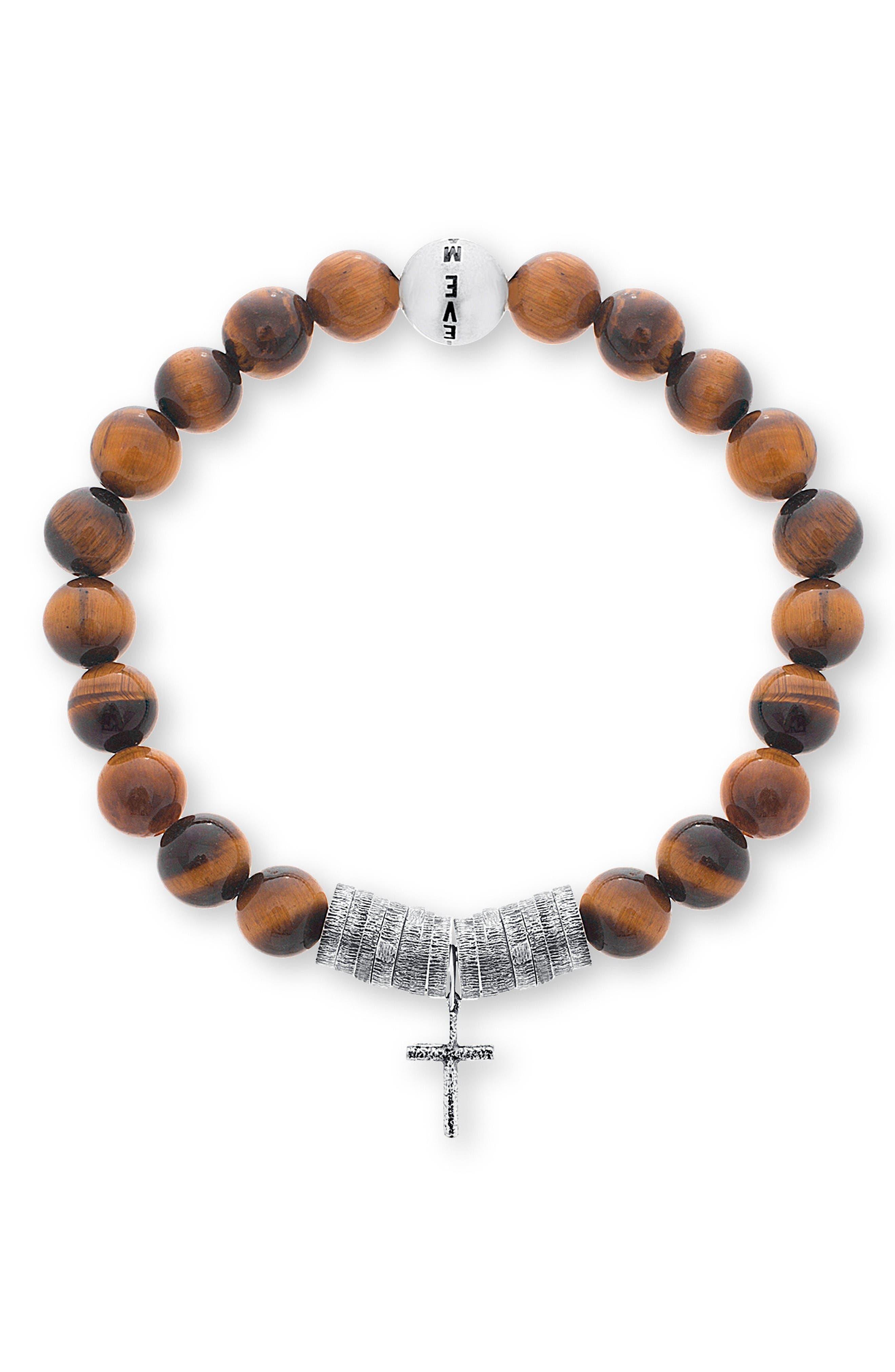 Cross Charm Bracelet,                         Main,                         color, Brown