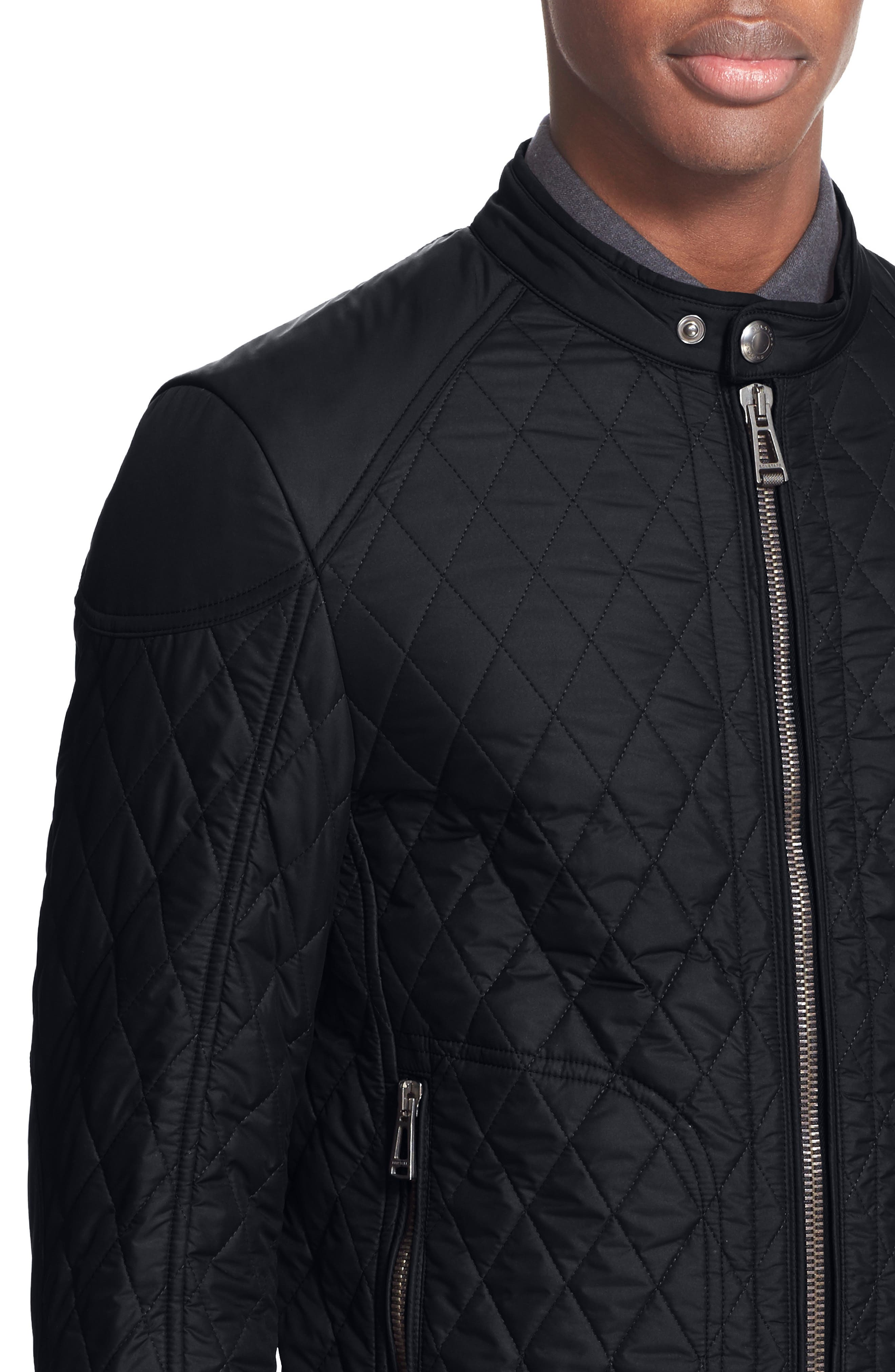 Bramley Quilted Moto Jacket,                             Alternate thumbnail 4, color,                             Black