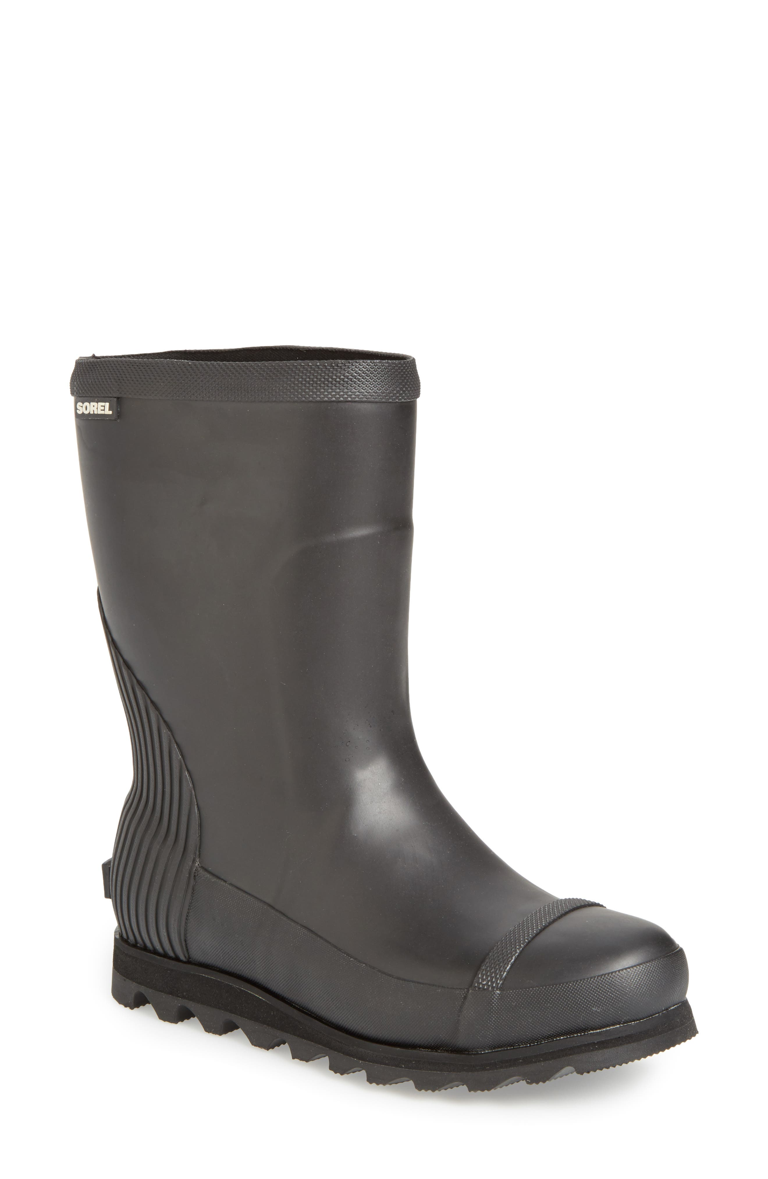 Joan Short Rain Boot,                             Main thumbnail 1, color,                             Black/ Sea Salt
