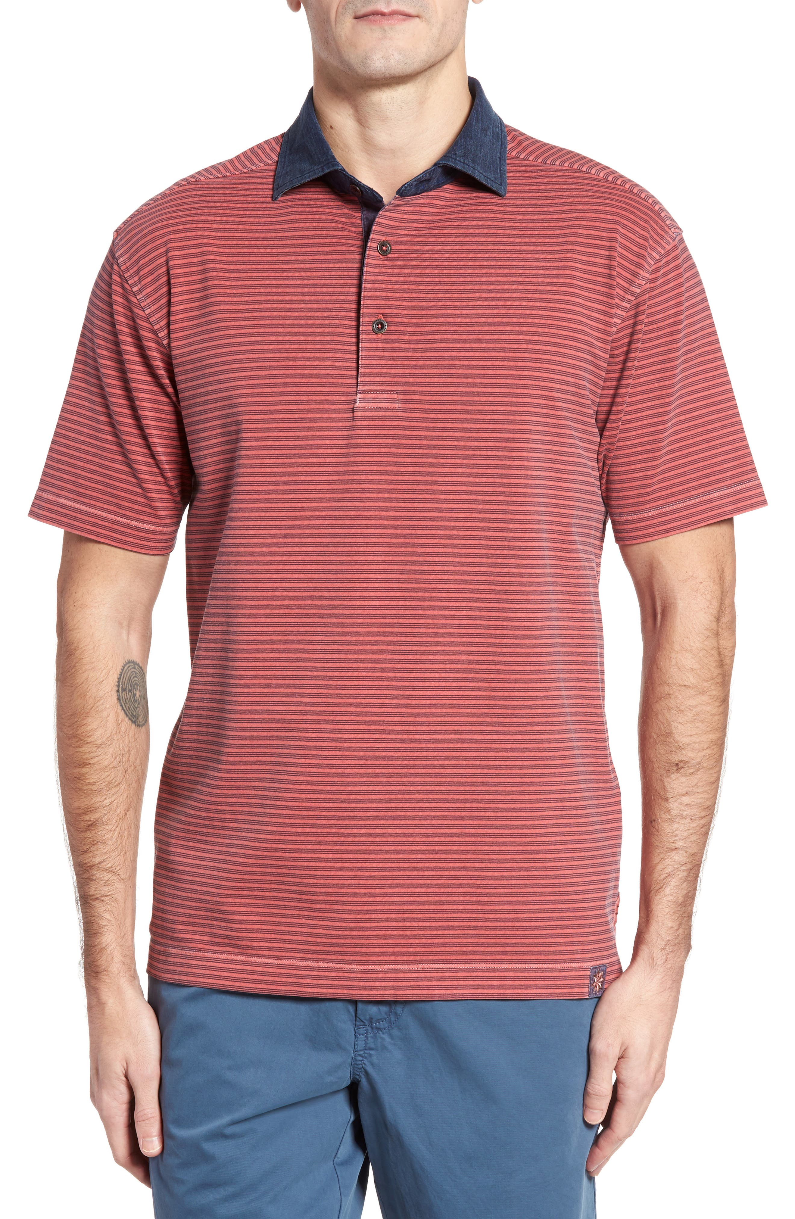 Ivan Stripe Stretch Jersey Polo,                             Main thumbnail 1, color,                             True Red