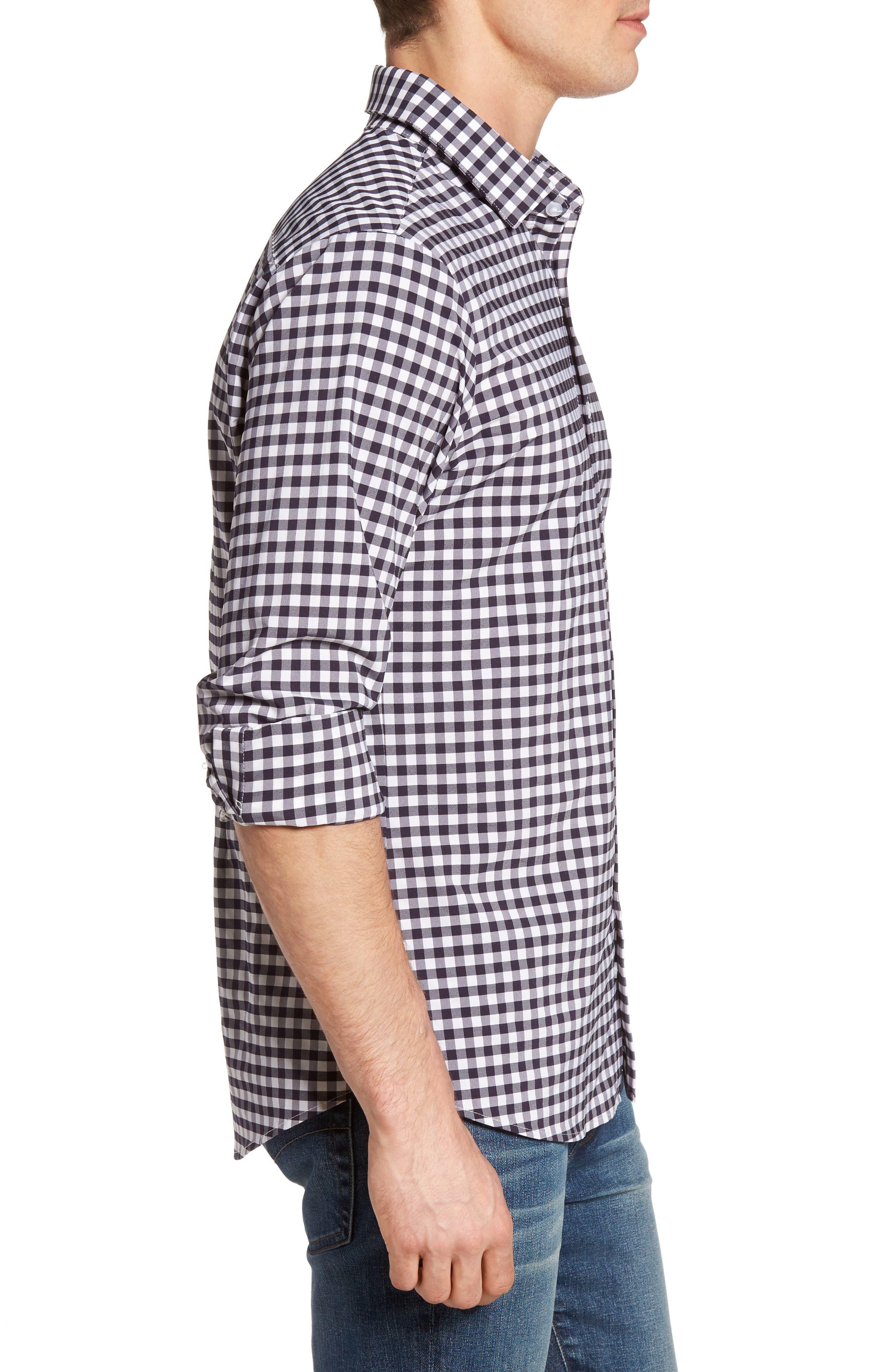 Montauk Slim Fit Gingham Performance Sport Shirt,                             Alternate thumbnail 4, color,                             Navy