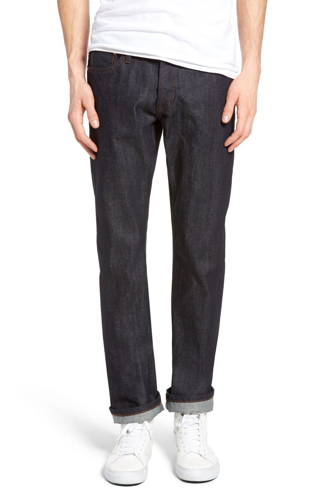 Alternate Image 1 Selected - The Unbranded Brand UB301 Straight Leg Raw Selvedge Jeans (Indigo)