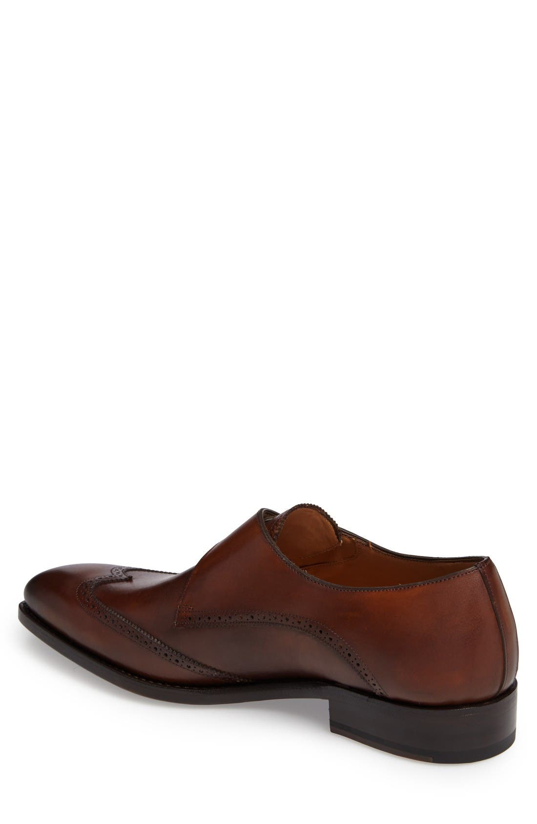 by Mezlan G121 Wingtip Monk Strap Shoe,                             Alternate thumbnail 2, color,                             Cognac