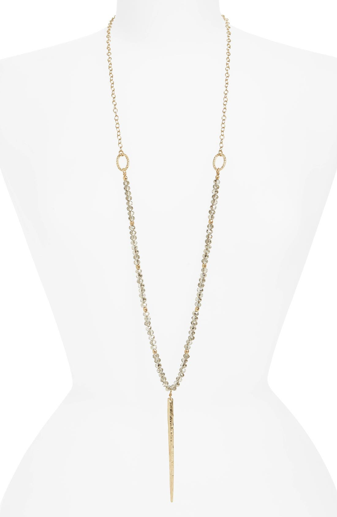 Crystal & Spike Necklace,                         Main,                         color, Worn Gold/ Black Diamond