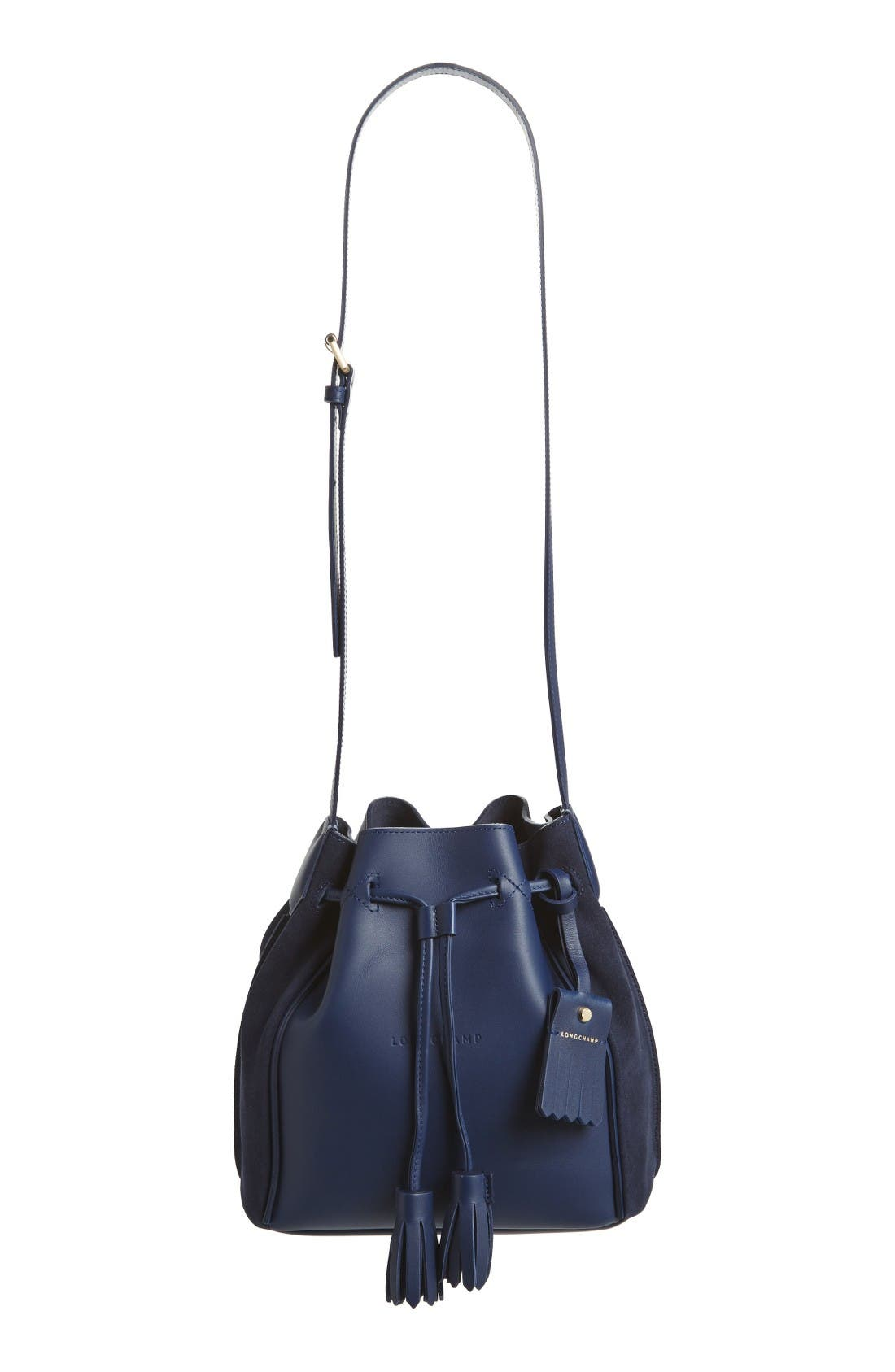 Penelope Fantasie Leather Bucket Bag,                             Main thumbnail 1, color,                             Blue