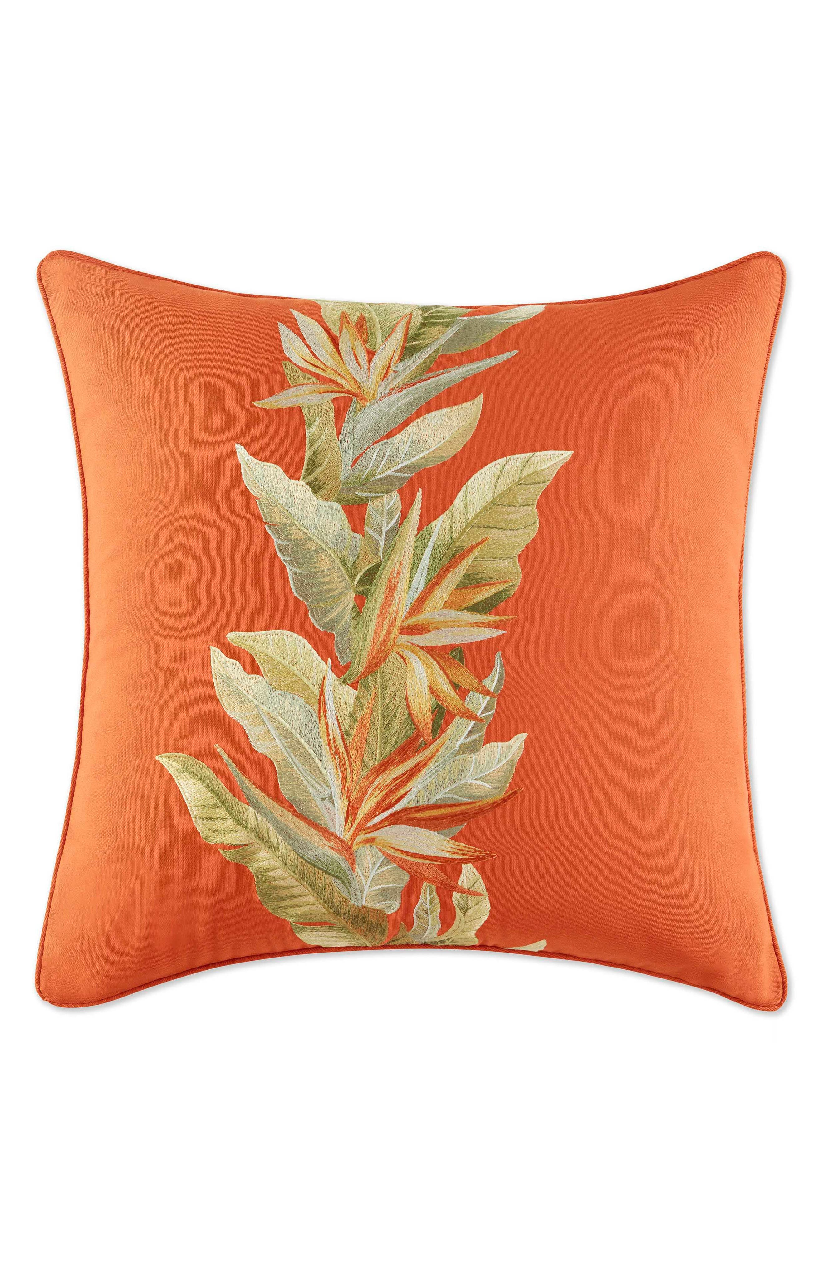Birds of Paradise Accent Pillow,                             Main thumbnail 1, color,                             Spice