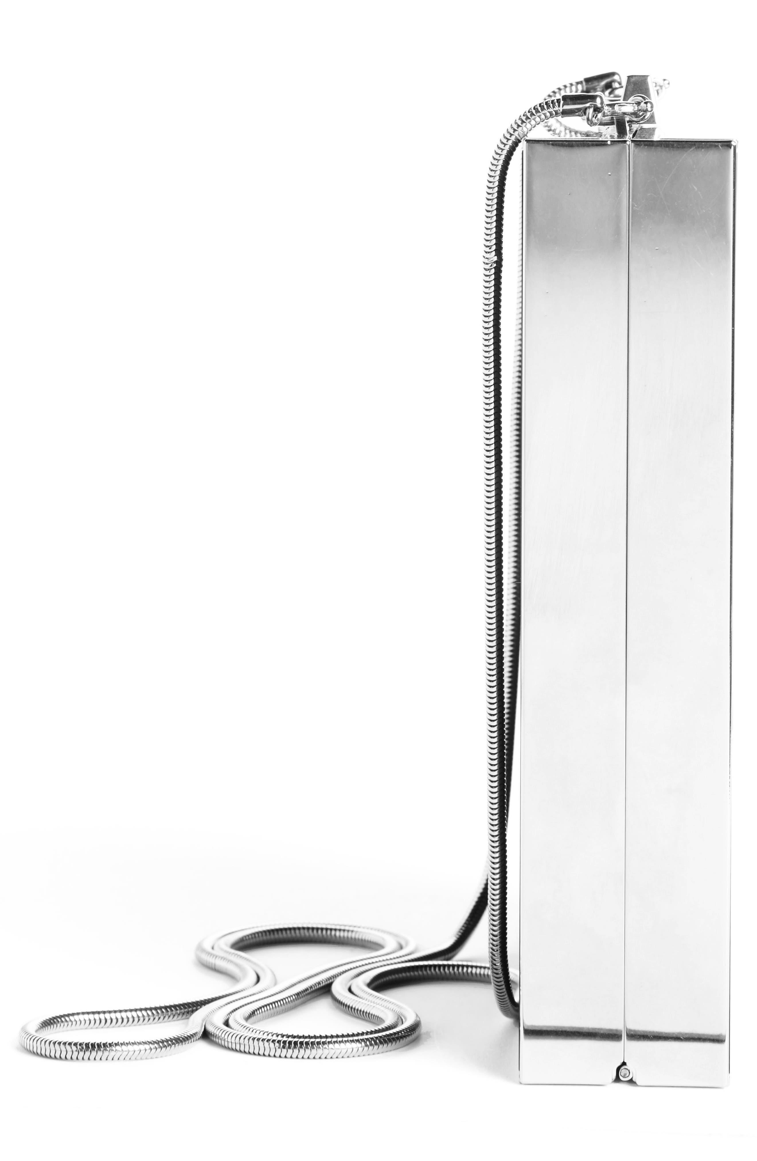 Tuxedo Plexiglass Clutch,                             Alternate thumbnail 3, color,                             Noir/ Silver