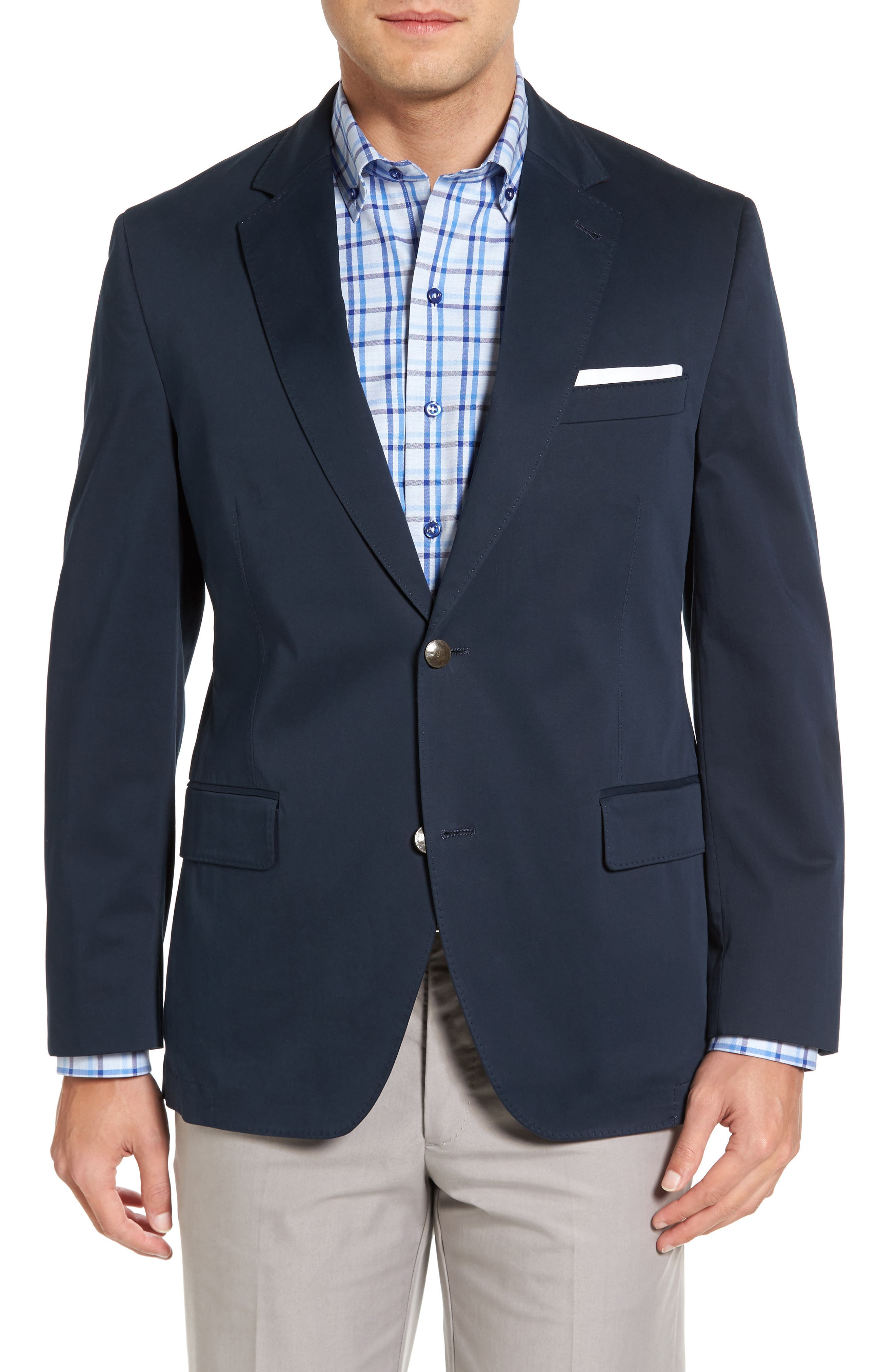Mathis Classic Fit Stretch Cotton Blazer,                         Main,                         color, Navy