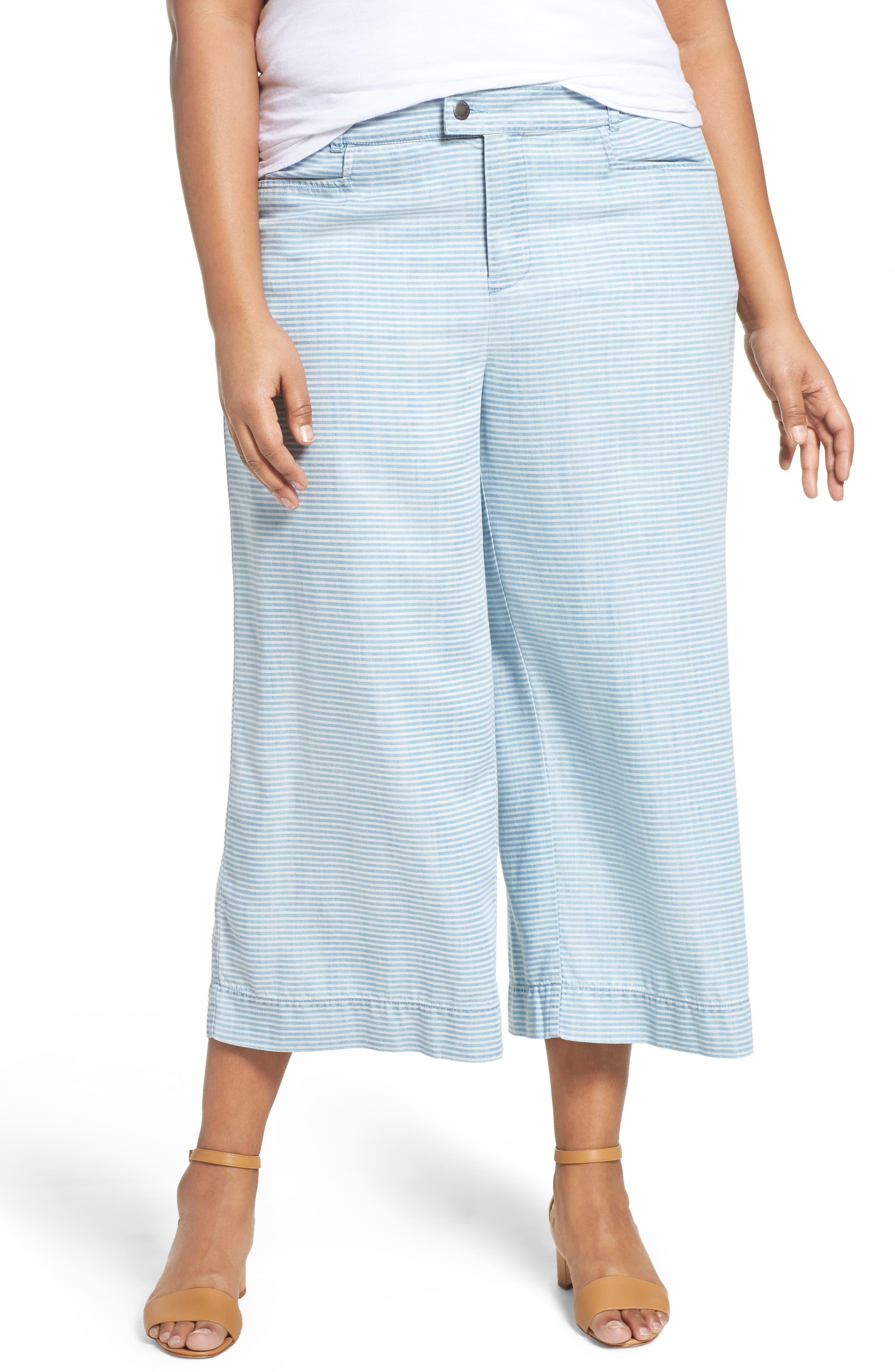 Pinstripe Denim Wide Leg Capri Pants,                         Main,                         color, Bluewash