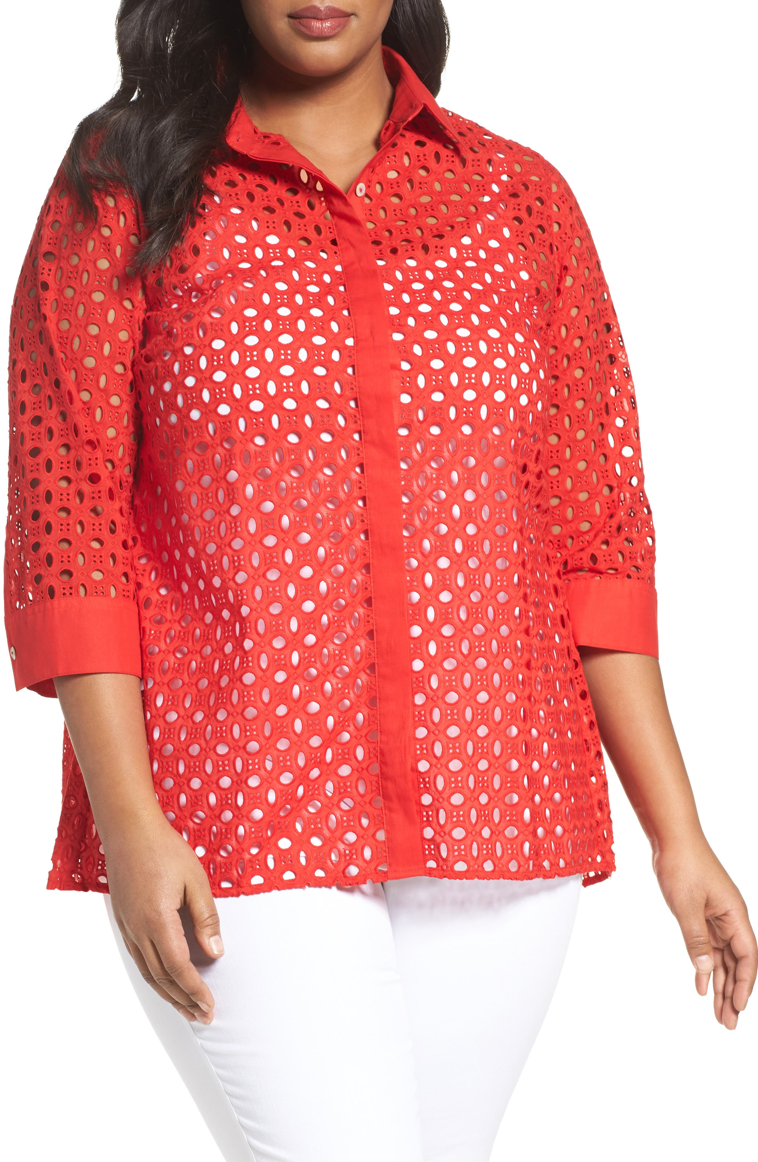 Alternate Image 1 Selected - Foxcroft Eyelet Cotton Tunic (Plus Size)