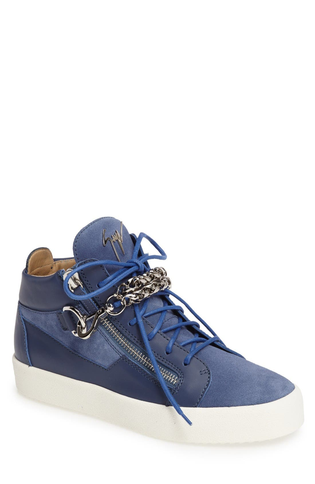 Chain Mid Top Sneaker,                             Main thumbnail 1, color,                             Blue Suede/ Leather
