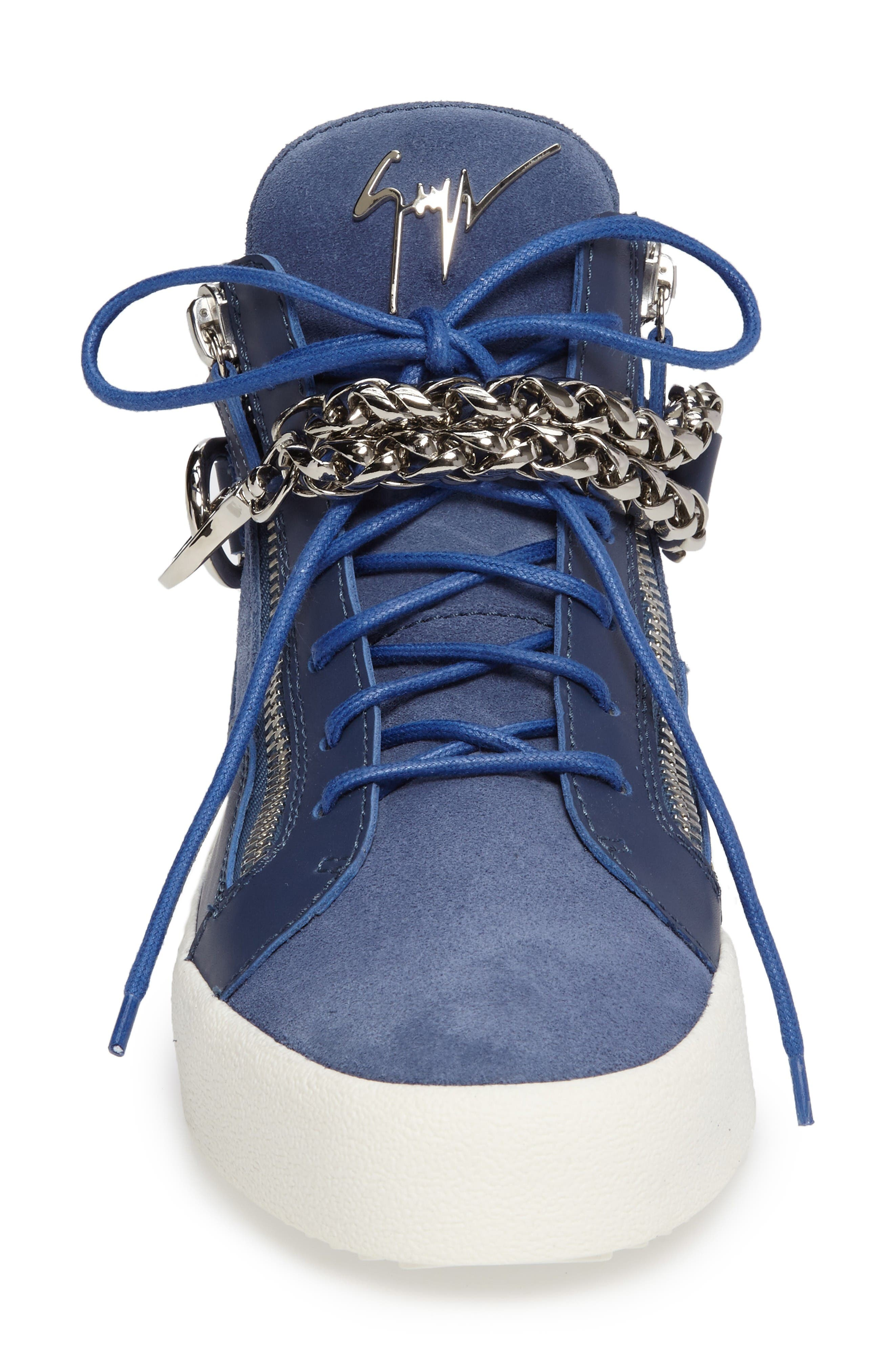 Chain Mid Top Sneaker,                             Alternate thumbnail 3, color,                             Blue Suede/ Leather