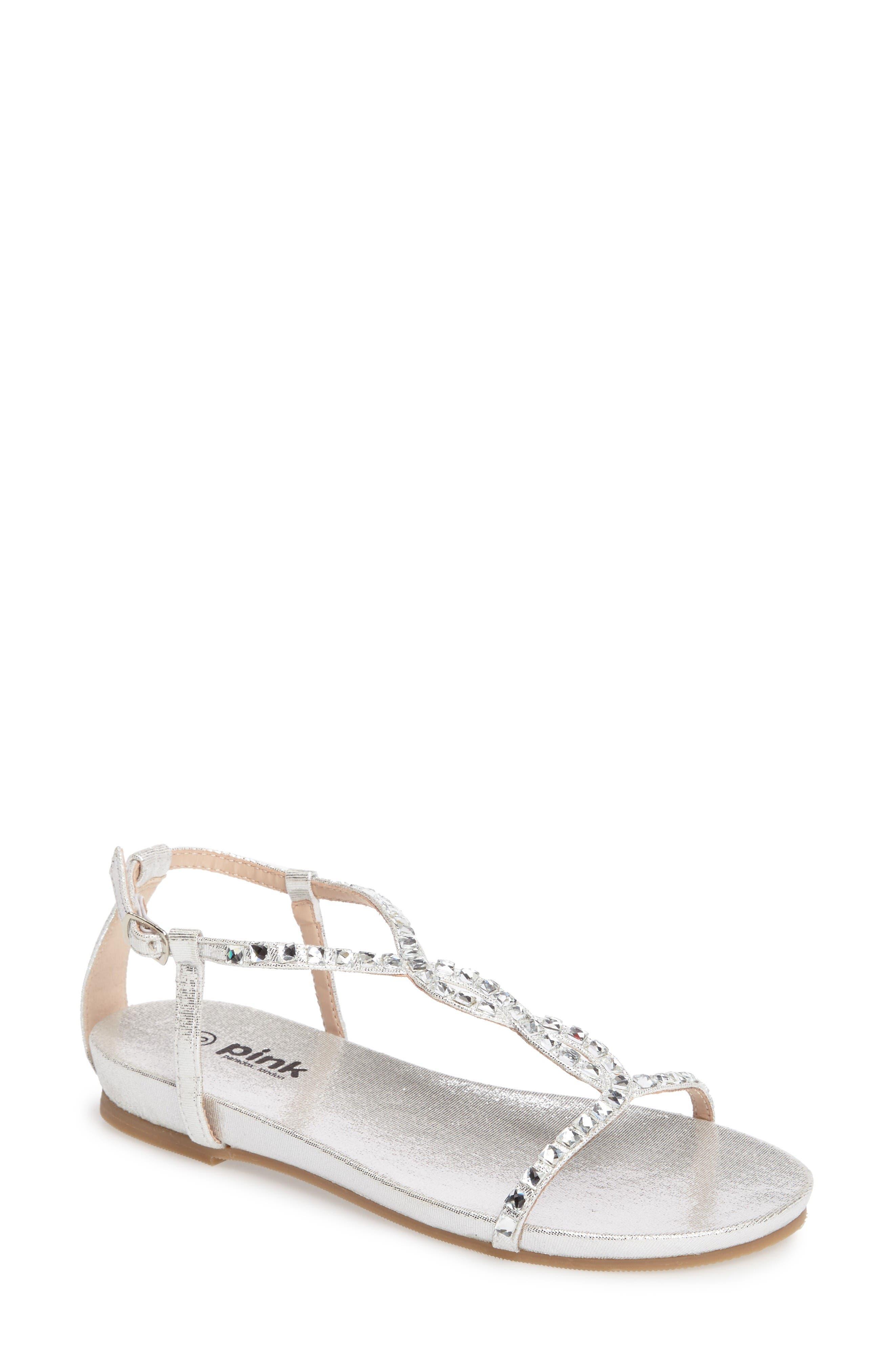 Kaylee Ankle Strap Sandal,                             Main thumbnail 1, color,                             Silver