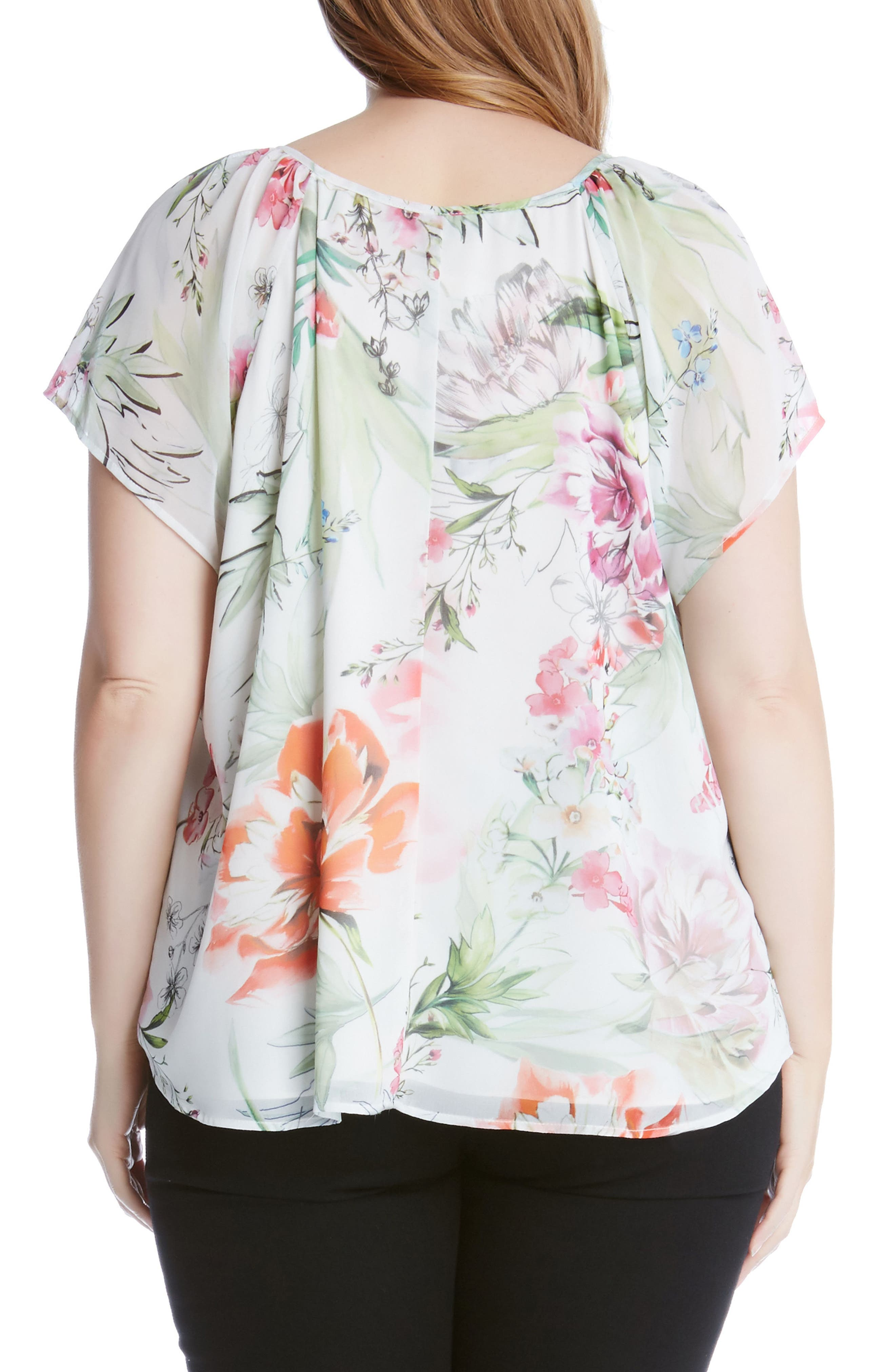 Alternate Image 2  - Karen Kane Keyhole Tie Floral Top (Plus Size)