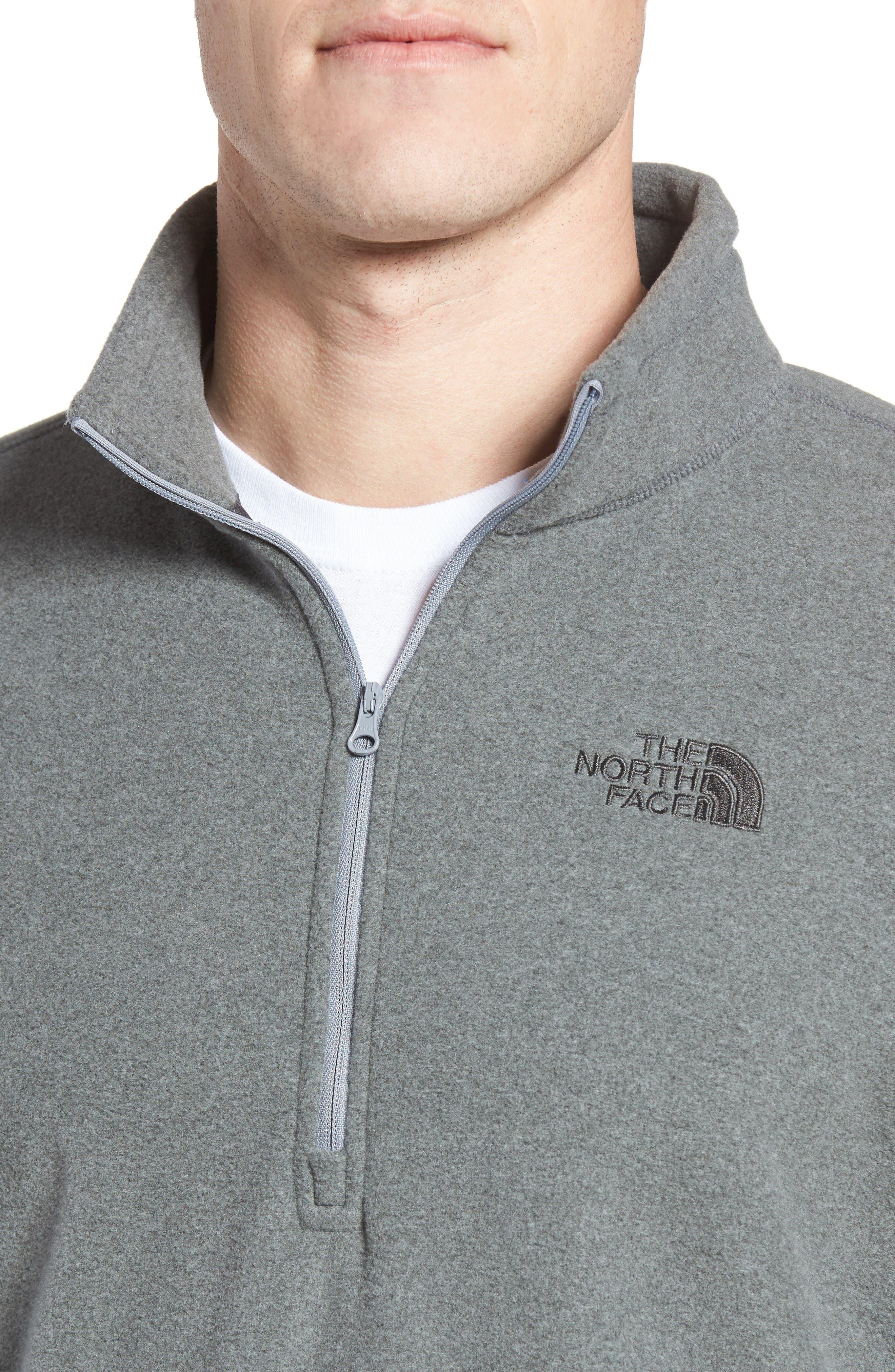 'TKA 100 Glacier' Quarter Zip Fleece Pullover,                             Alternate thumbnail 4, color,                             Tnf Medium Grey Heather