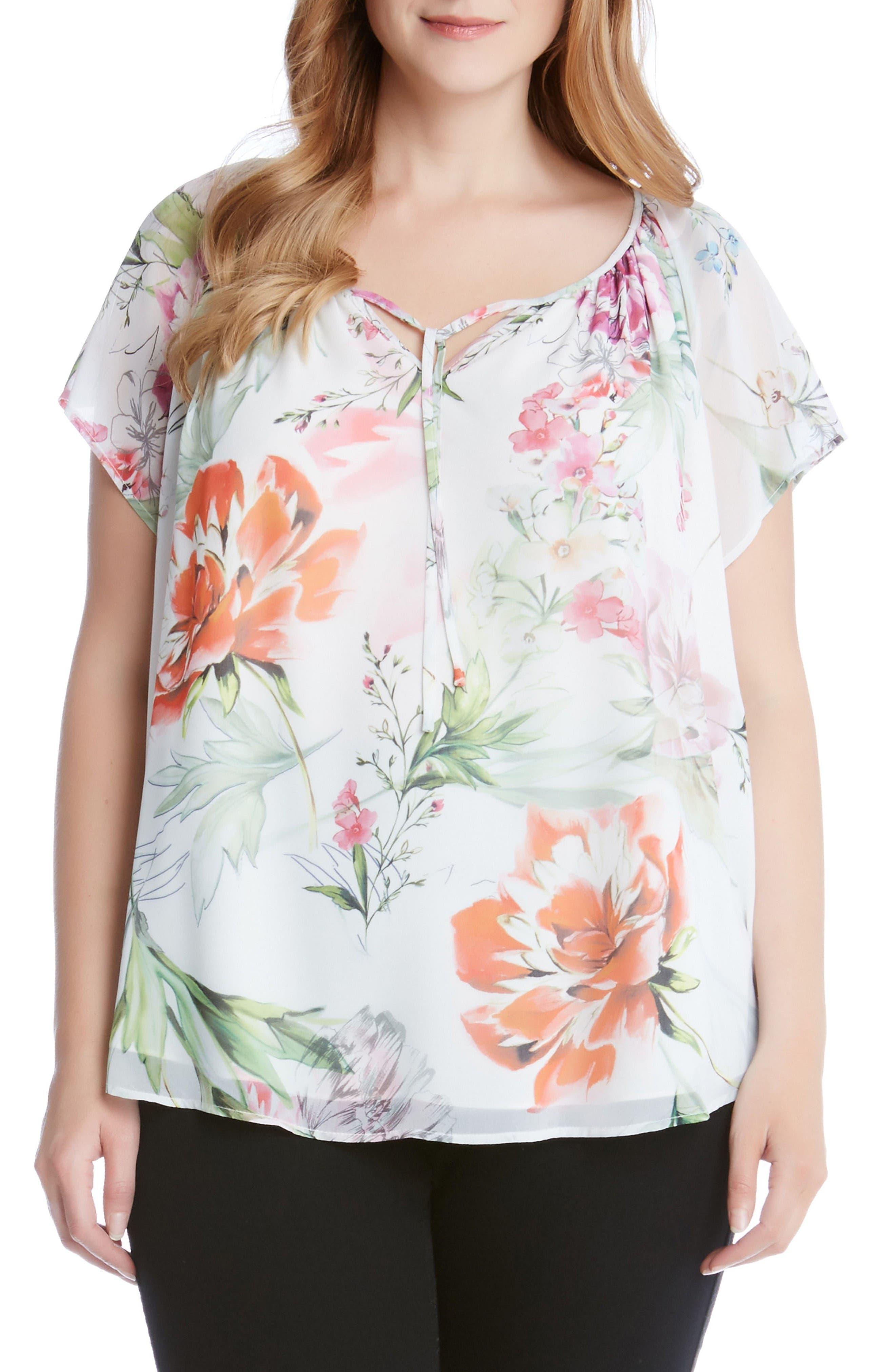 Alternate Image 1 Selected - Karen Kane Keyhole Tie Floral Top (Plus Size)