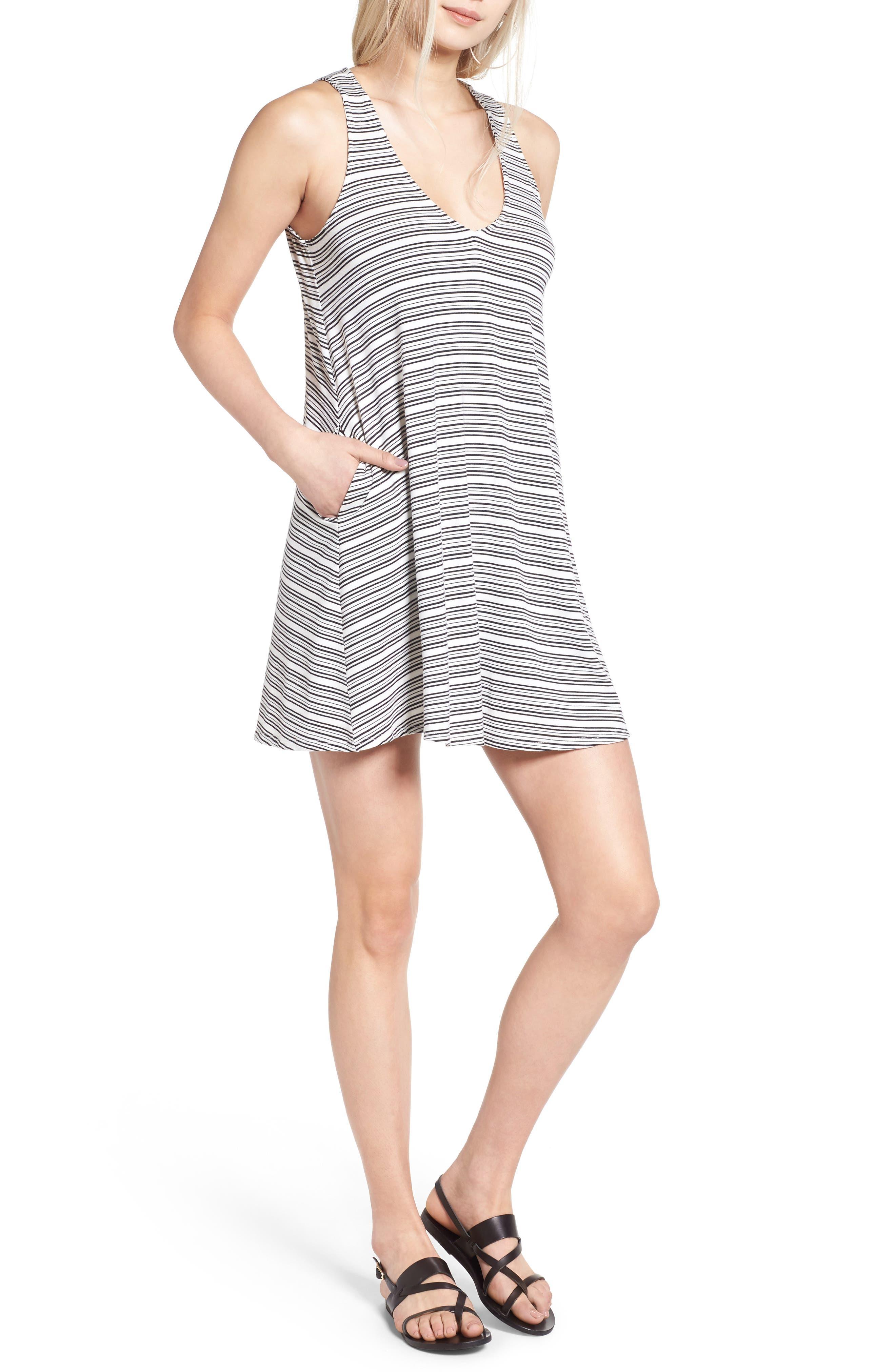 Pocket Tank Dress,                         Main,                         color, Ivory/ Black Highway Stripe