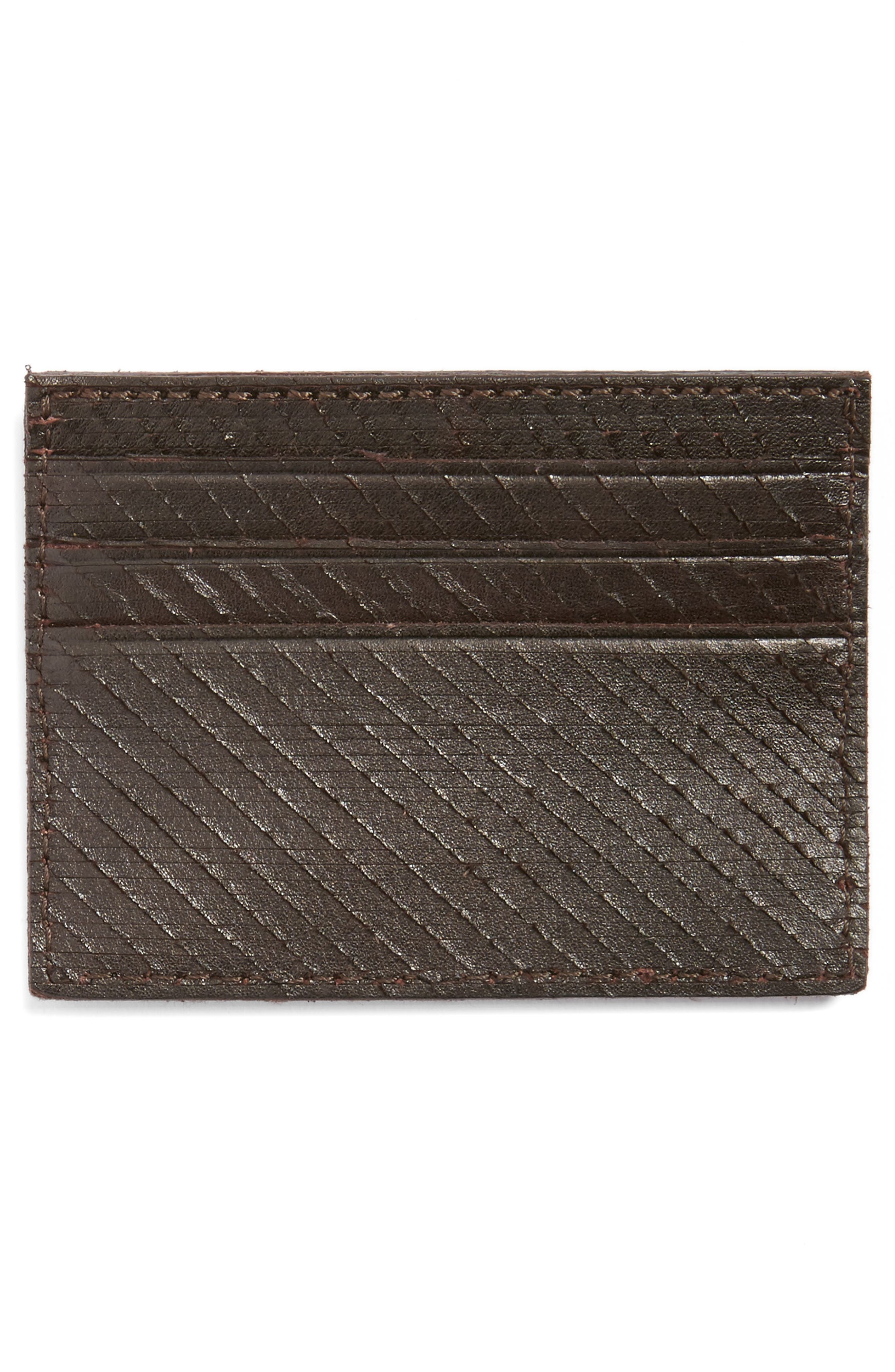 Leather Card Case,                             Alternate thumbnail 2, color,                             Chocolate
