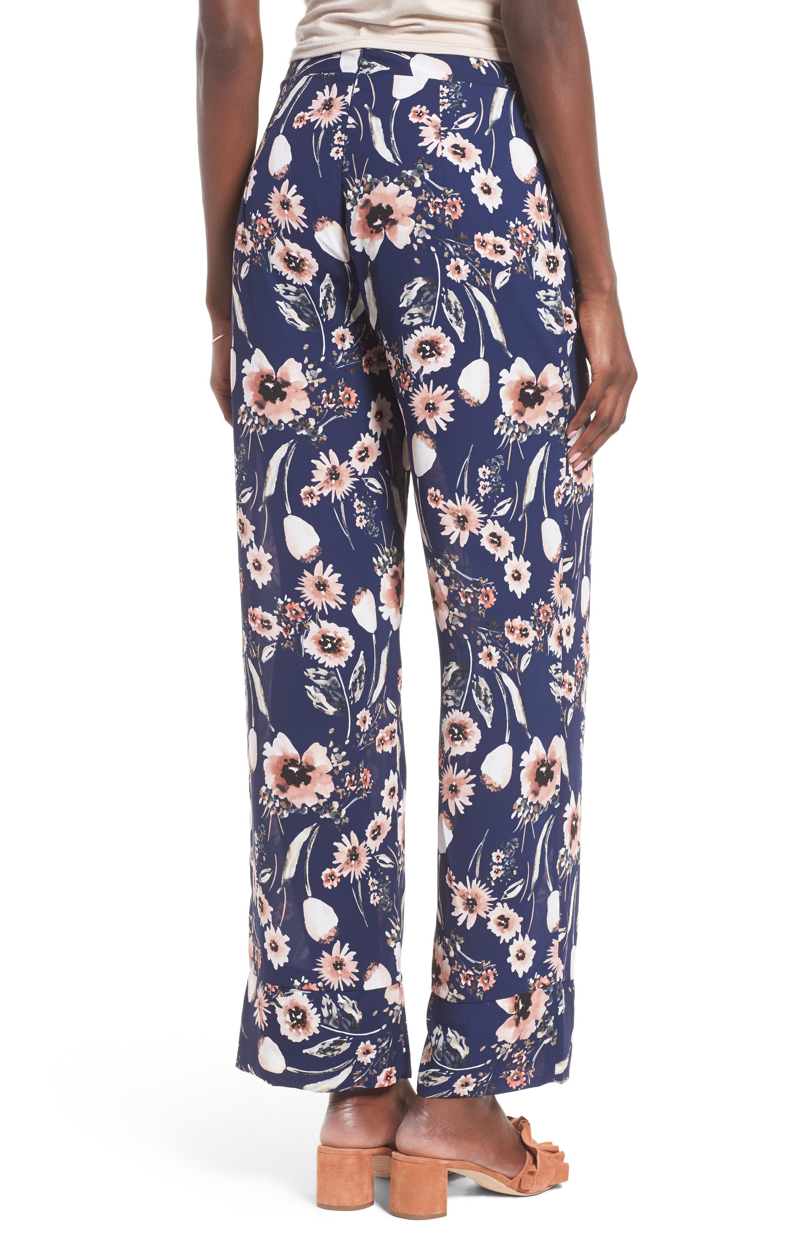 Wide Leg Pants,                             Alternate thumbnail 2, color,                             Navy Medieval Multi Floral