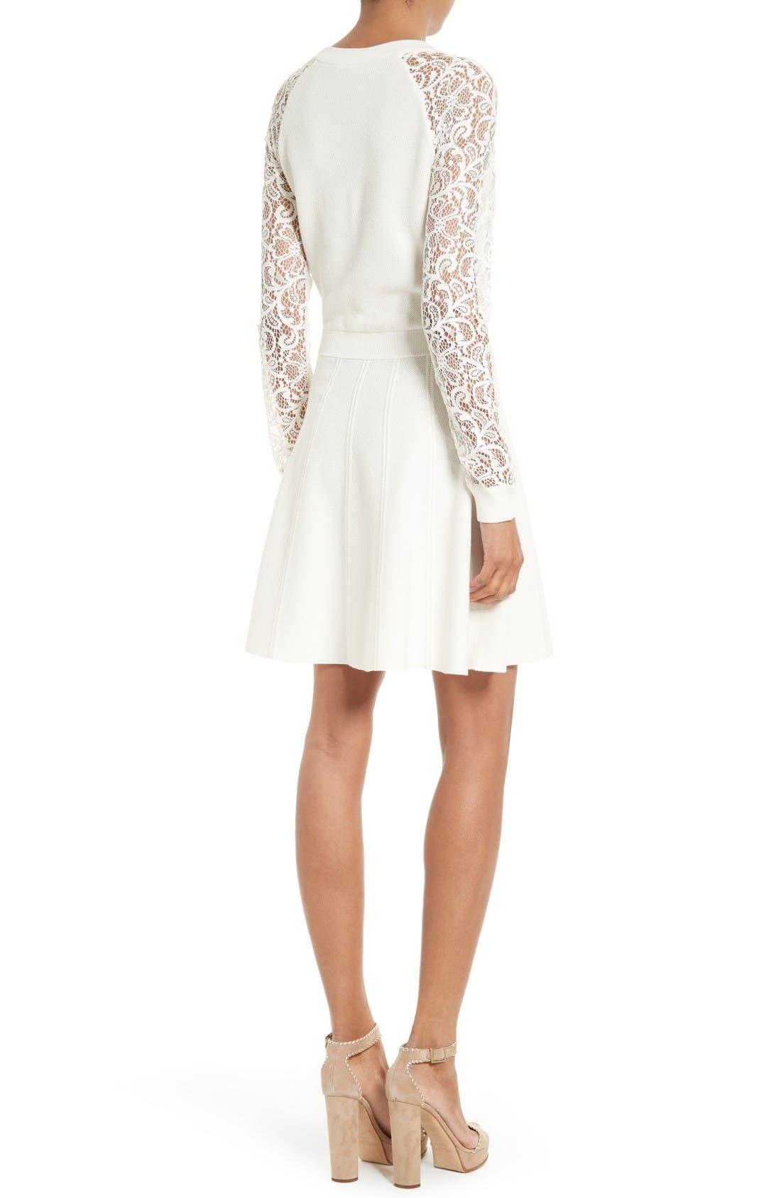 Alternate Image 2  - Alice + Olivia Blake Lace Sleeve Sweater Dress