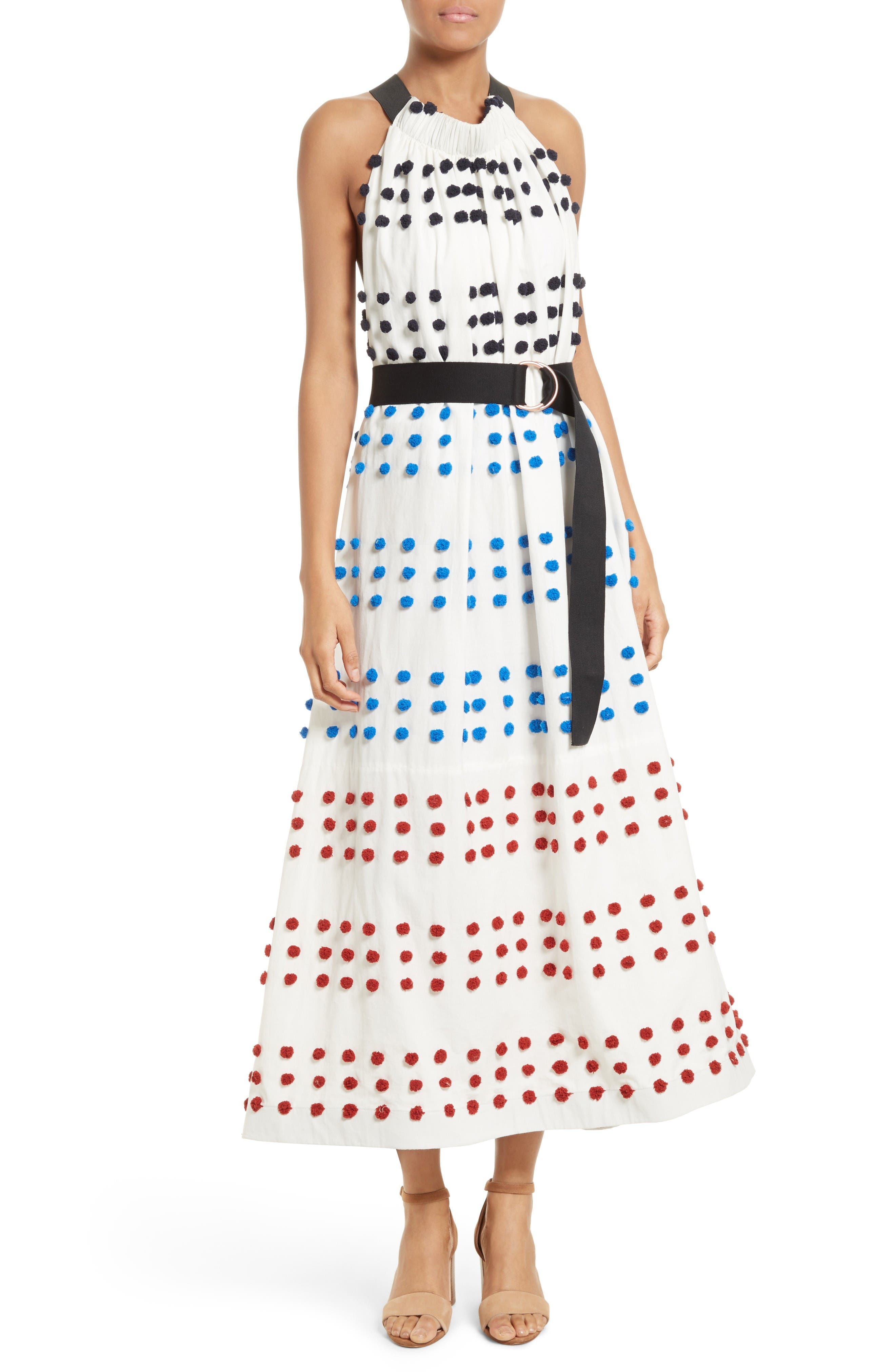 Alternate Image 1 Selected - Tibi Pompom Halter Midi Dress