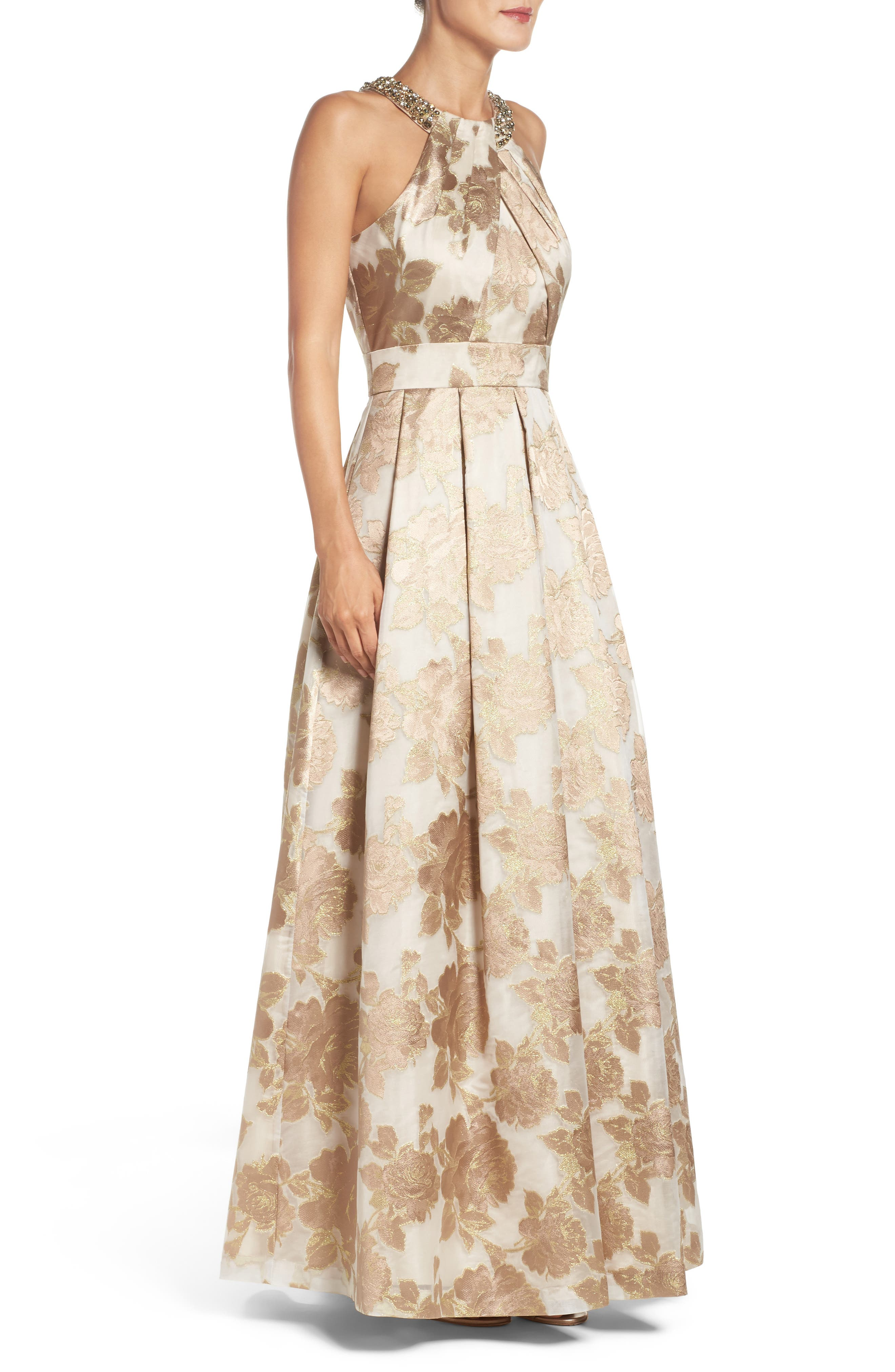 Embellished Floral Jacquard Fit & Flare Gown,                             Alternate thumbnail 3, color,                             Champagne