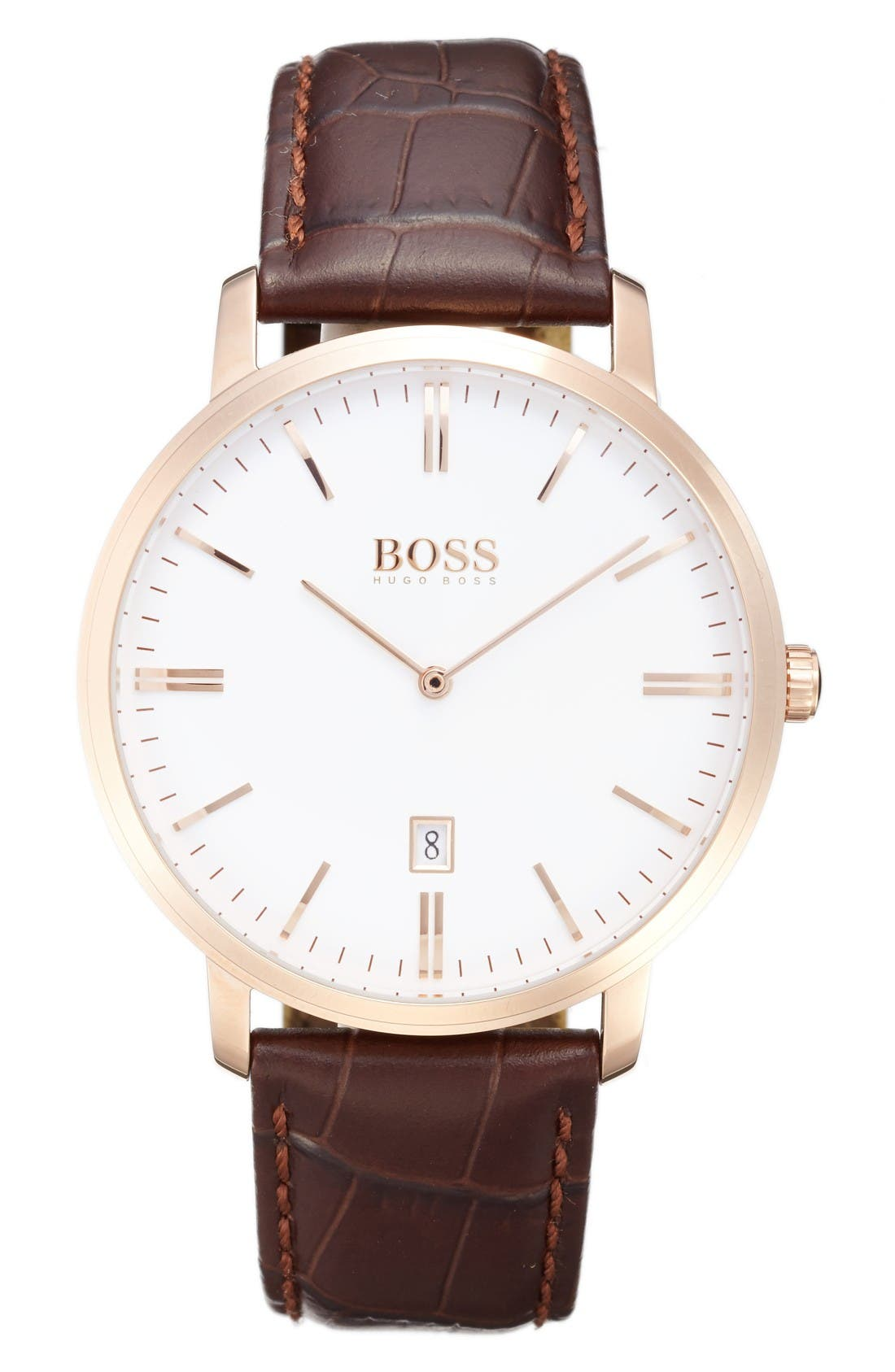 Tradition Leather Strap Watch, 40mm,                             Main thumbnail 1, color,                             White/ Brown