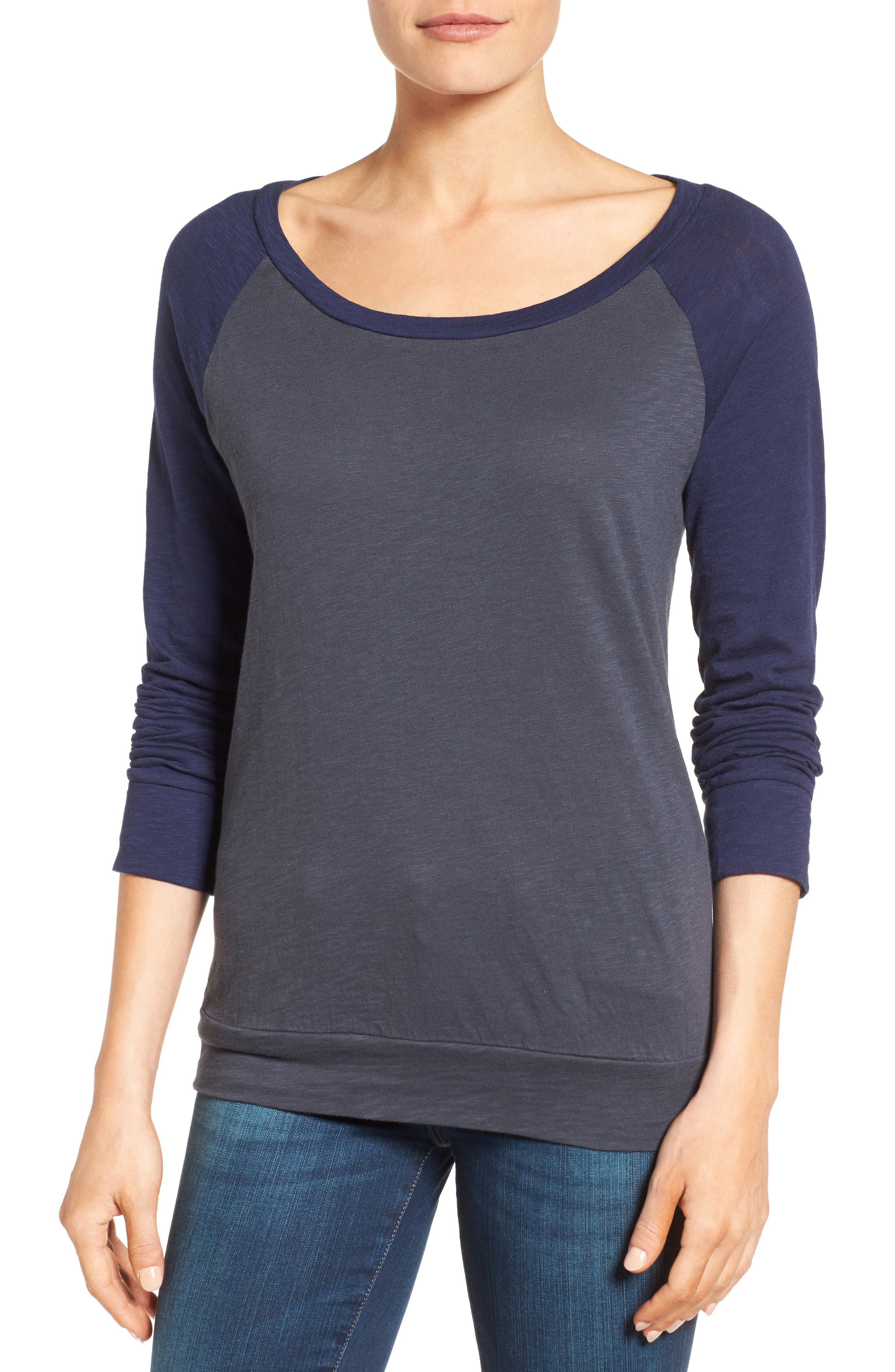 Lightweight Colorblock Cotton Tee,                         Main,                         color, Grey- Navy Colorblock