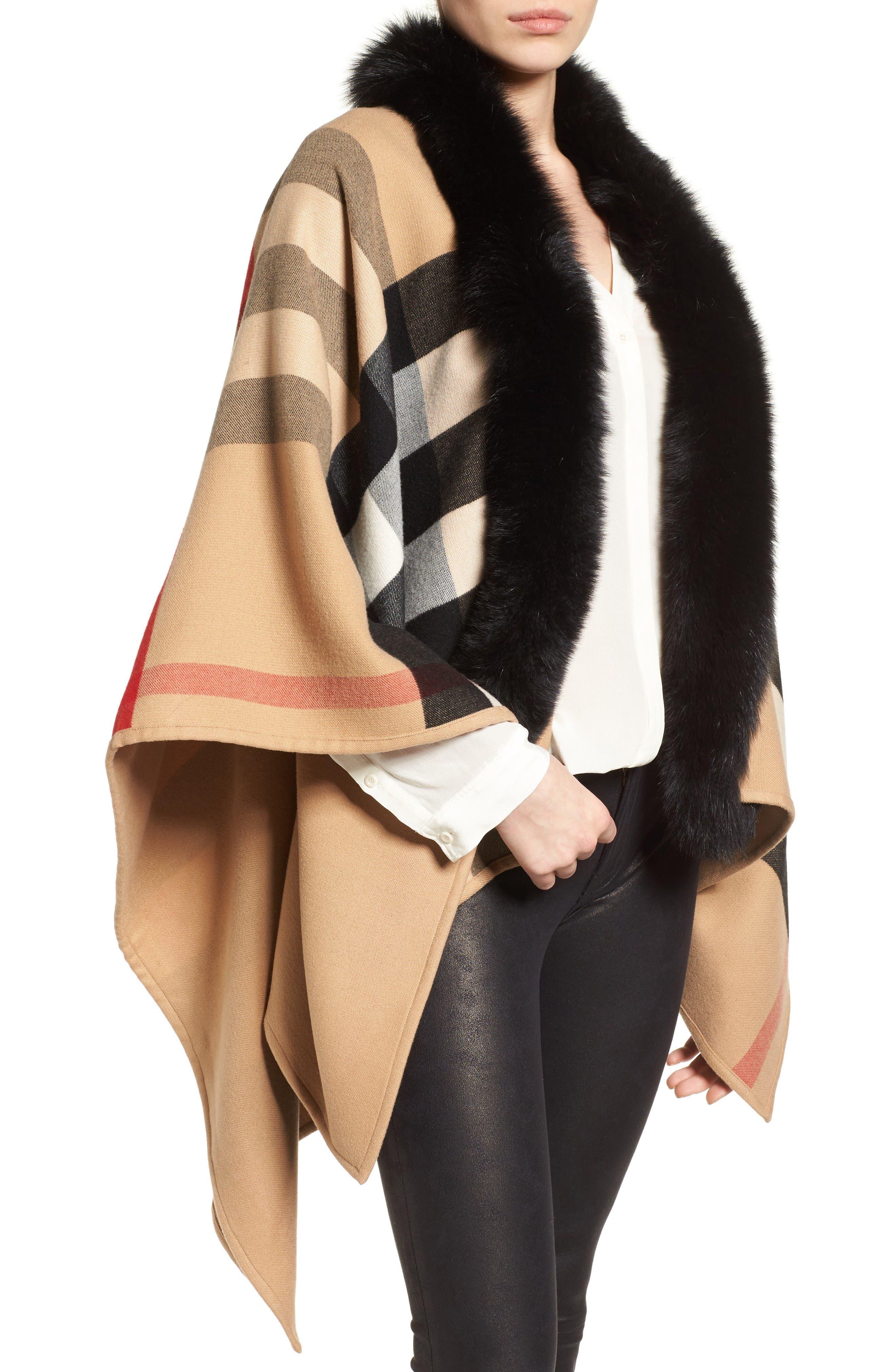Alternate Image 2  - Burberry Charlotte Genuine Fox Fur Trim Reversible Cape