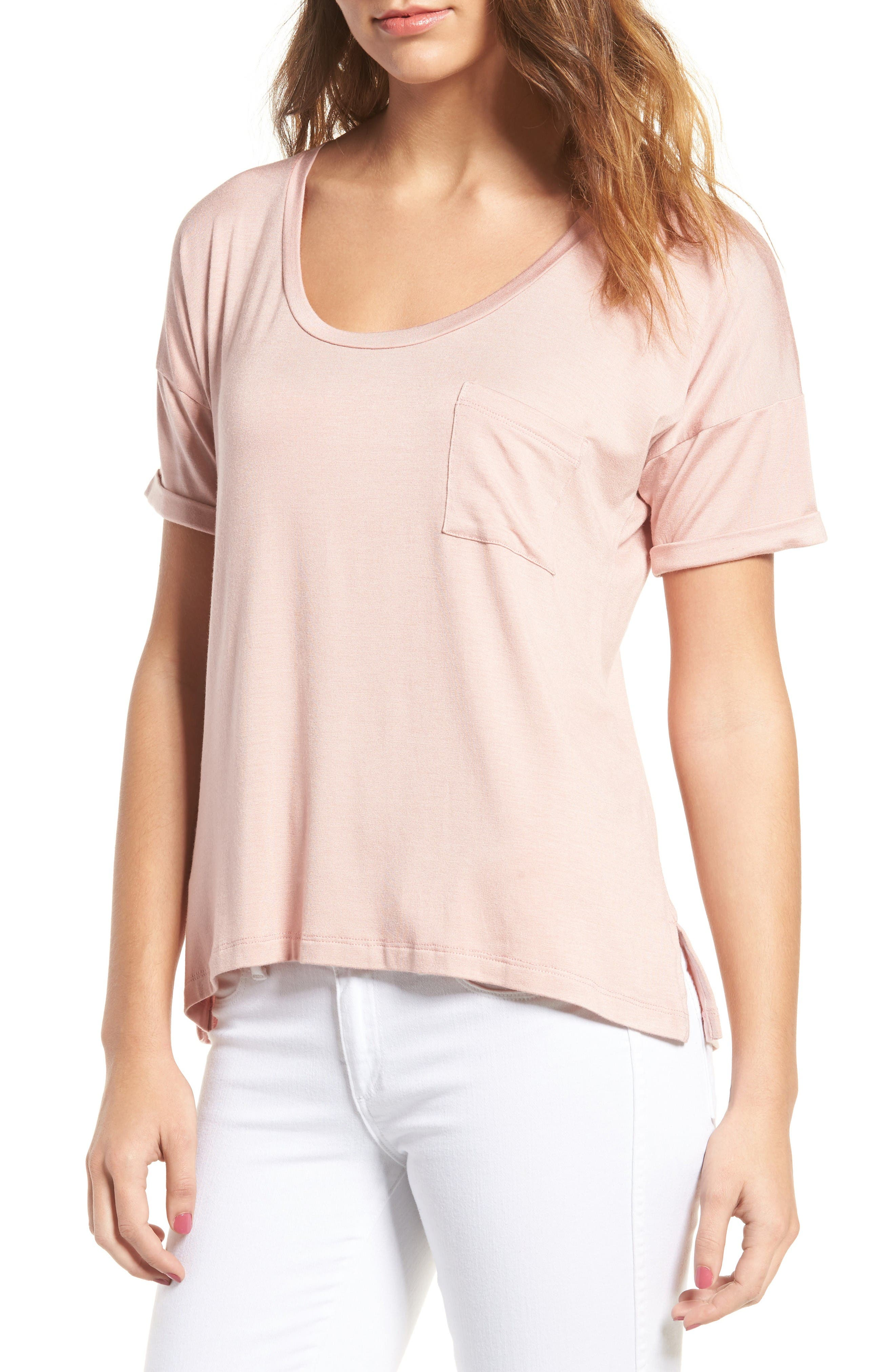 Paxton Pocket Tee,                         Main,                         color, Soft Pink