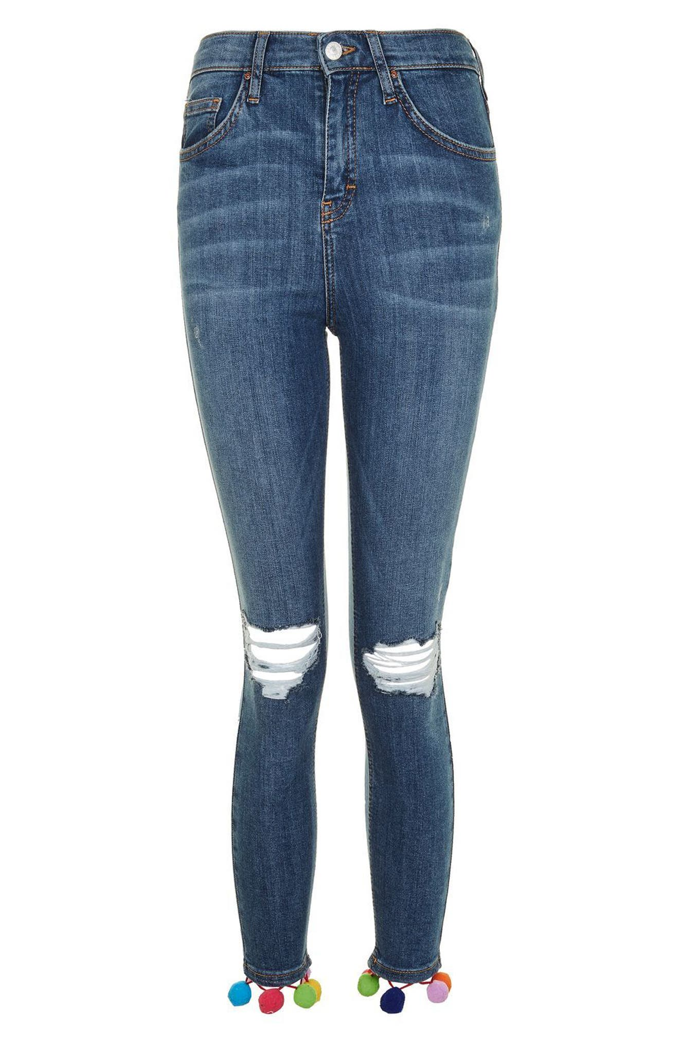 Alternate Image 4  - Topshop Jamie Pompom Skinny Jeans