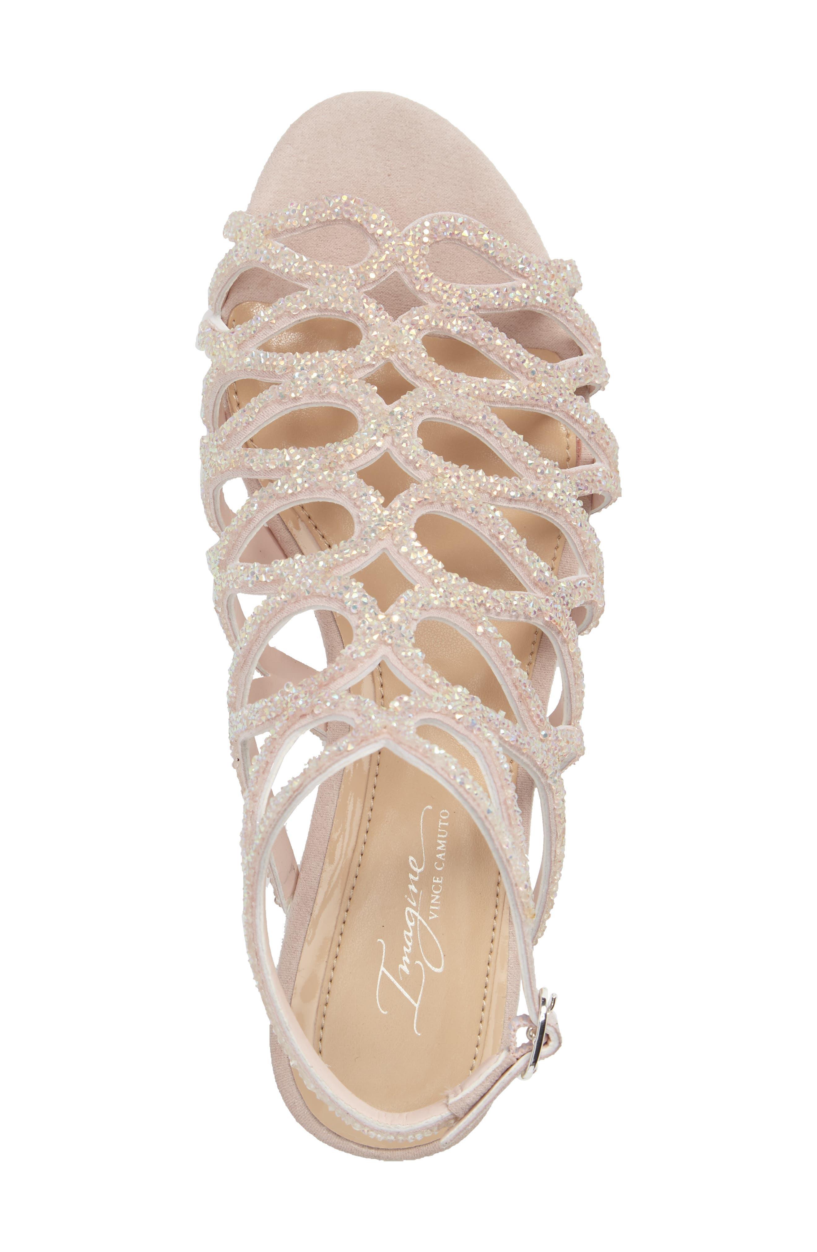 Ralee Glitter Sandal,                             Alternate thumbnail 3, color,                             Iridescent Pink Satin