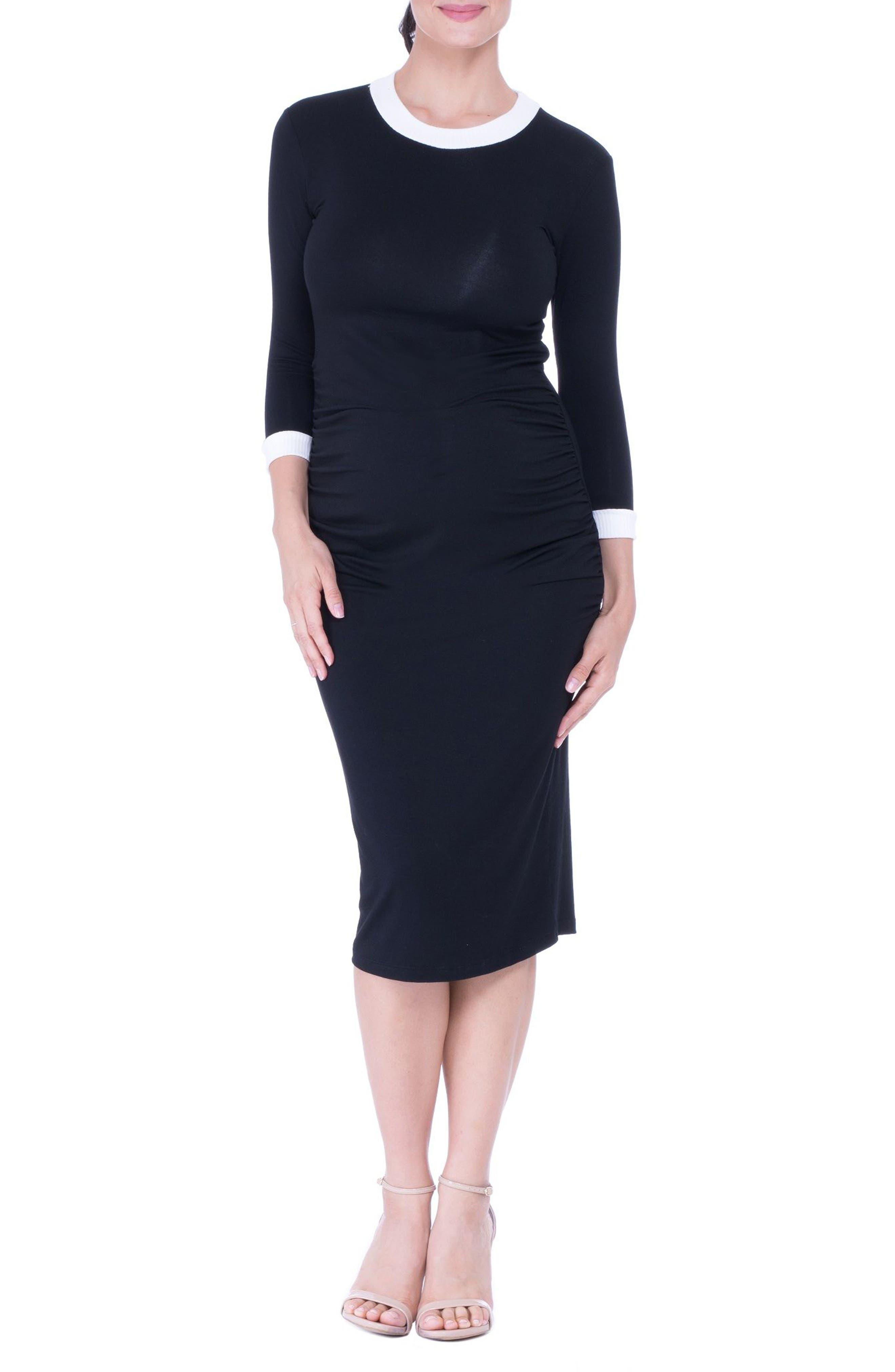 Maternity Midi Dress,                             Main thumbnail 1, color,                             Black