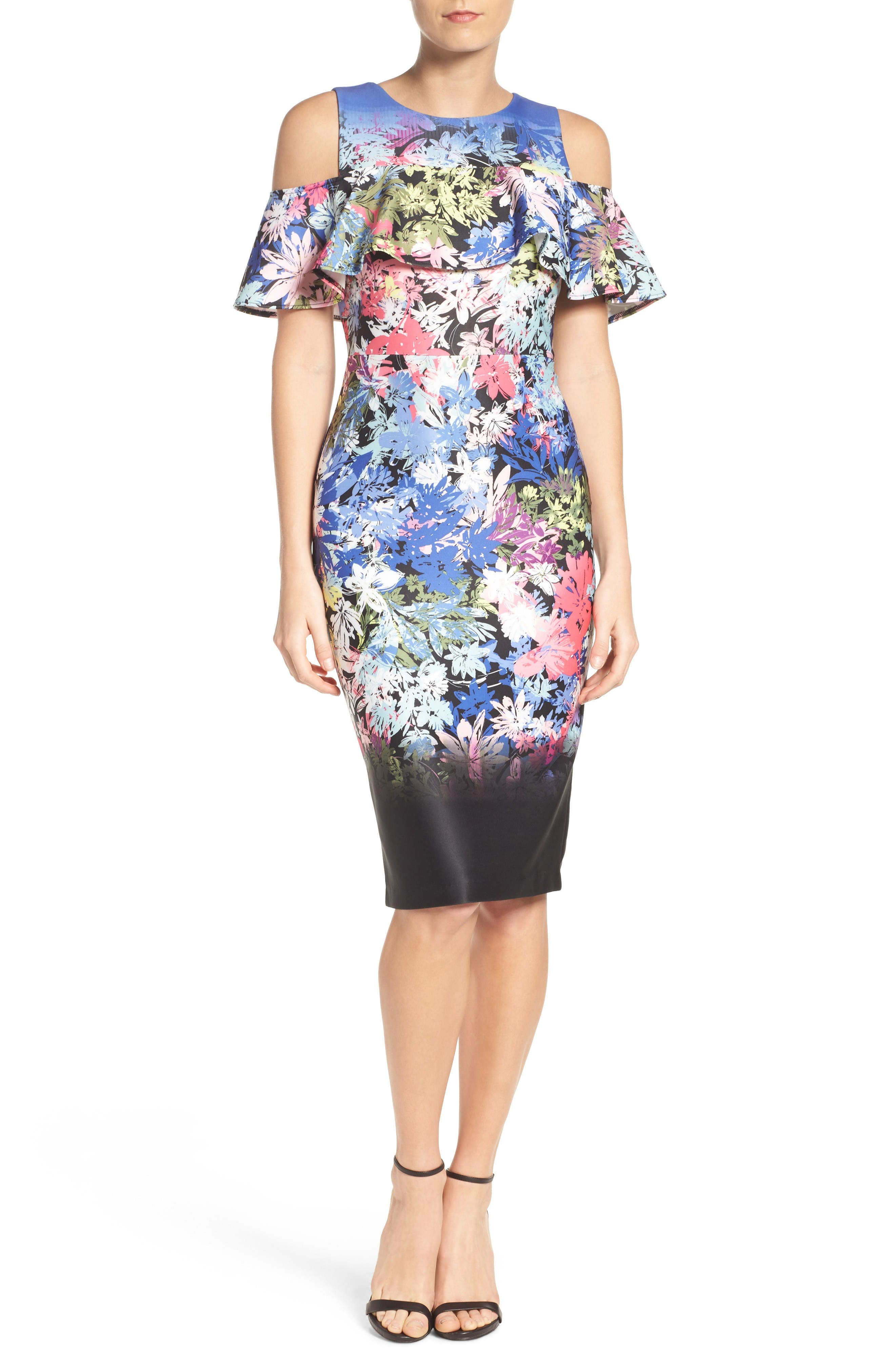 Cold Shoulder Sheath Dress,                         Main,                         color, Black/ Multi