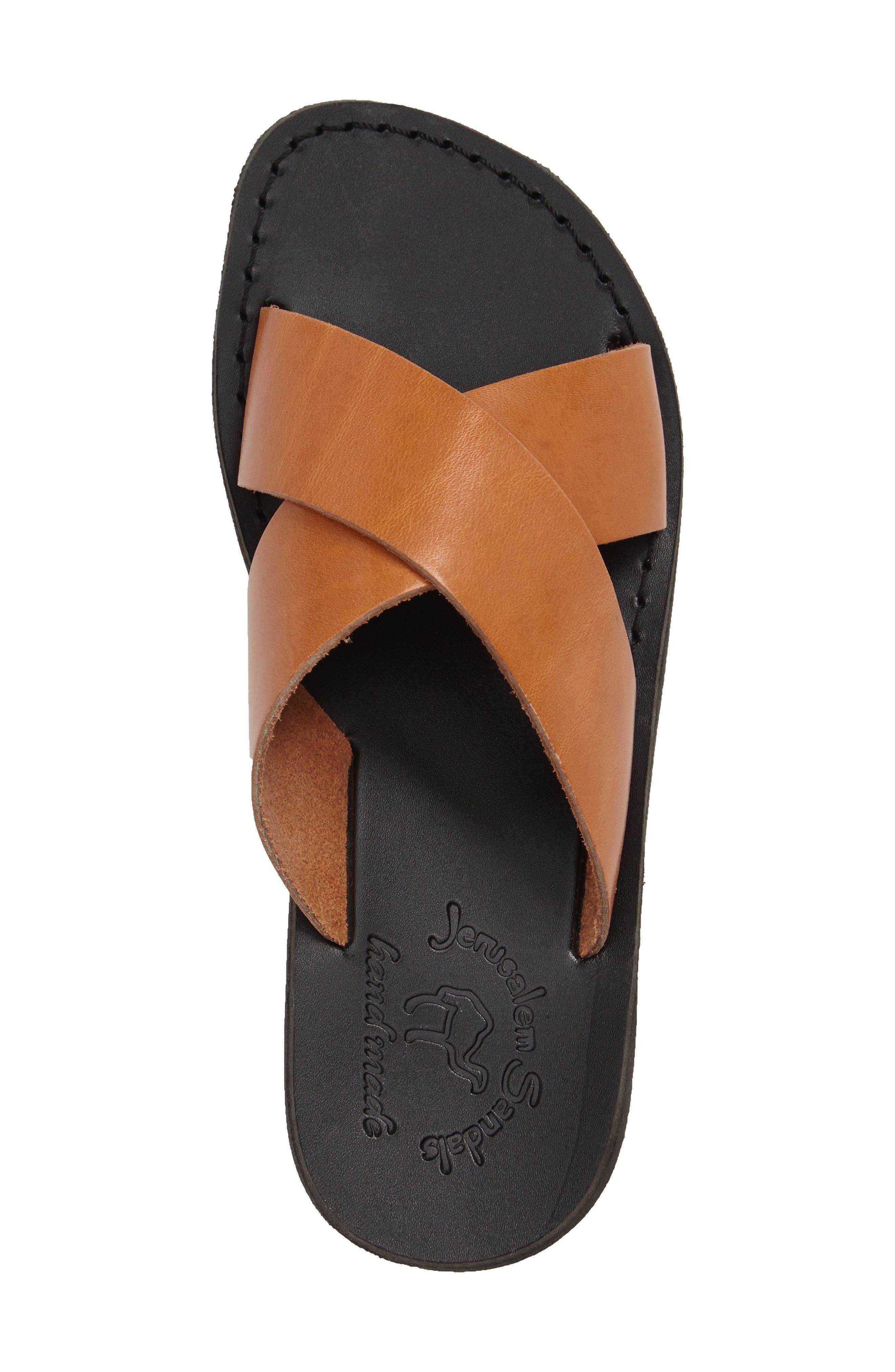 Elan Crisscross Sandal,                             Alternate thumbnail 3, color,                             Brown/ Tan Leather
