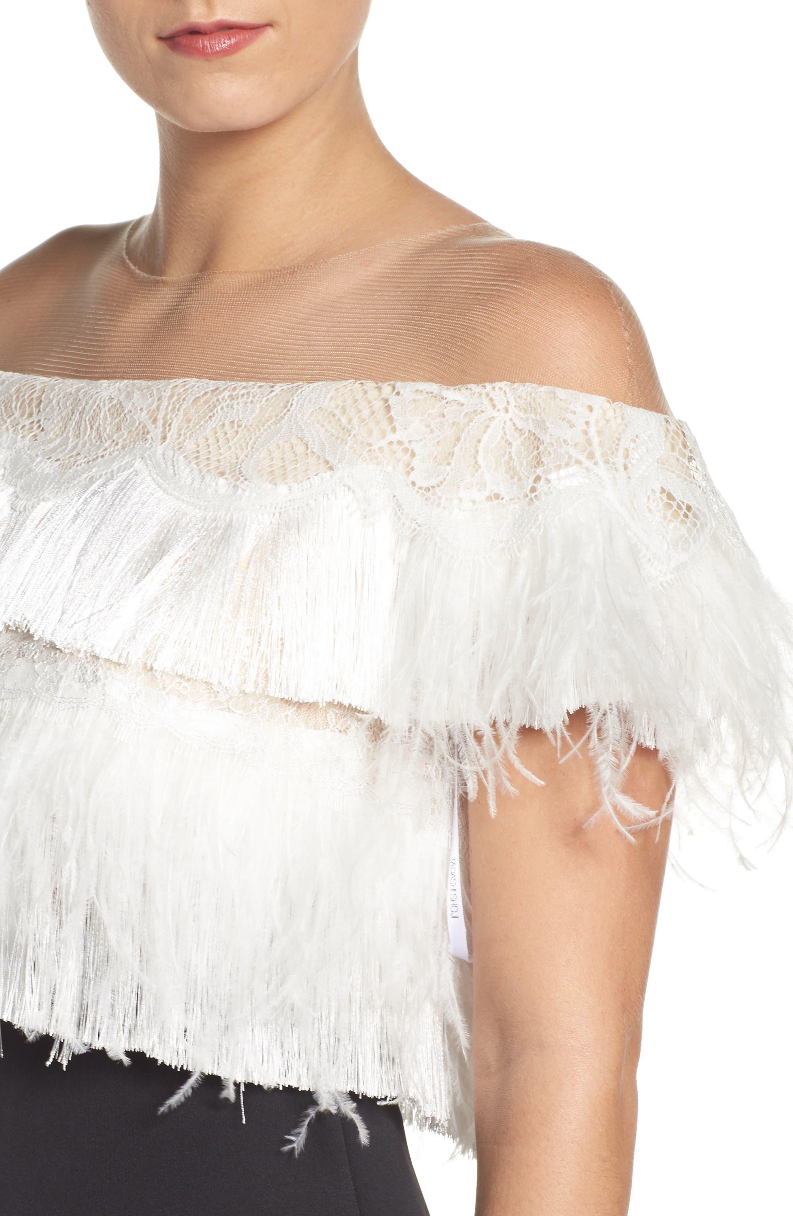 Off the Shoulder Sheath Dress,                             Alternate thumbnail 5, color,                             Black/ Ivory
