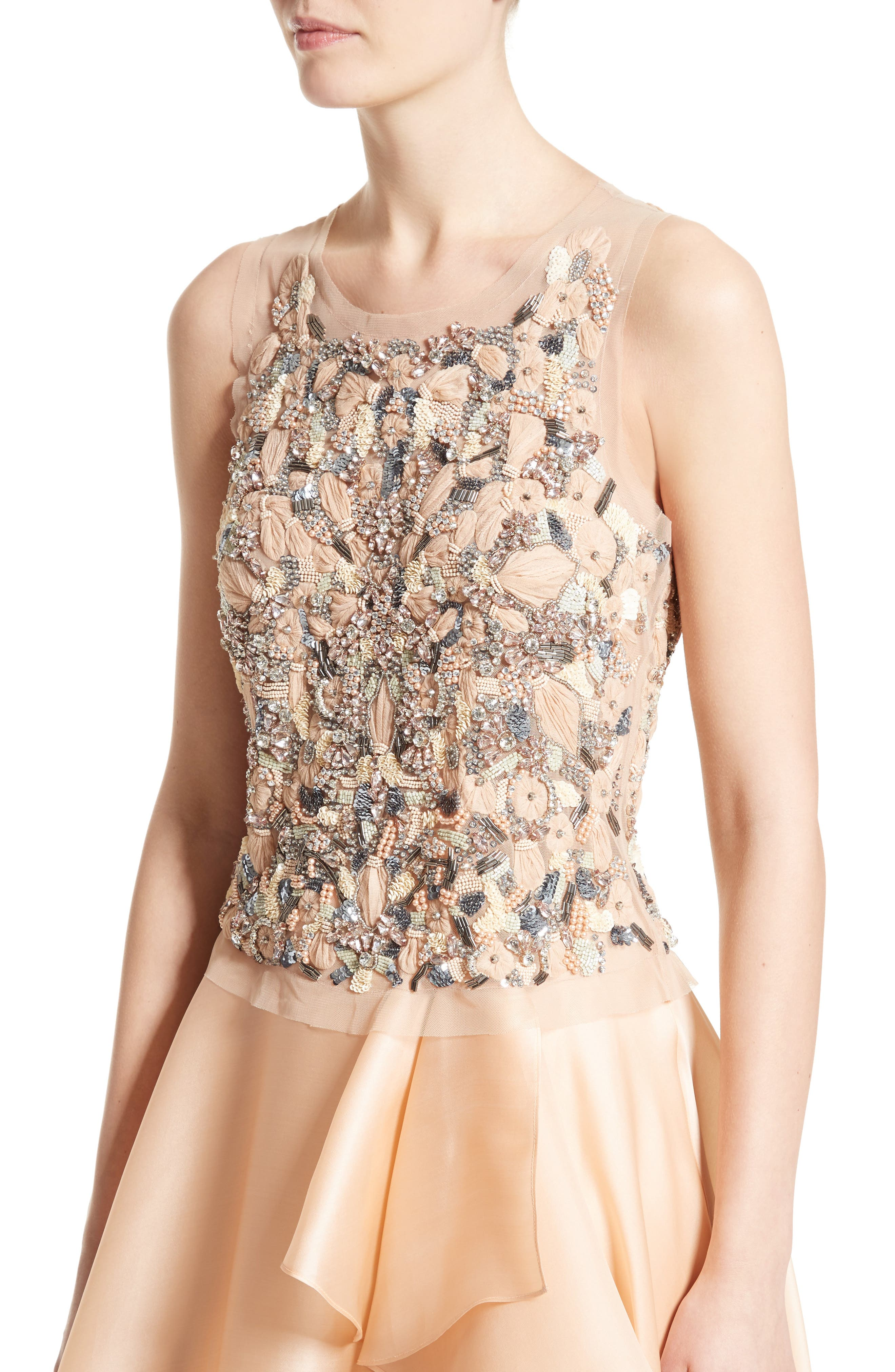Badgley Mischka Couture Beaded Top,                             Alternate thumbnail 7, color,                             Peach