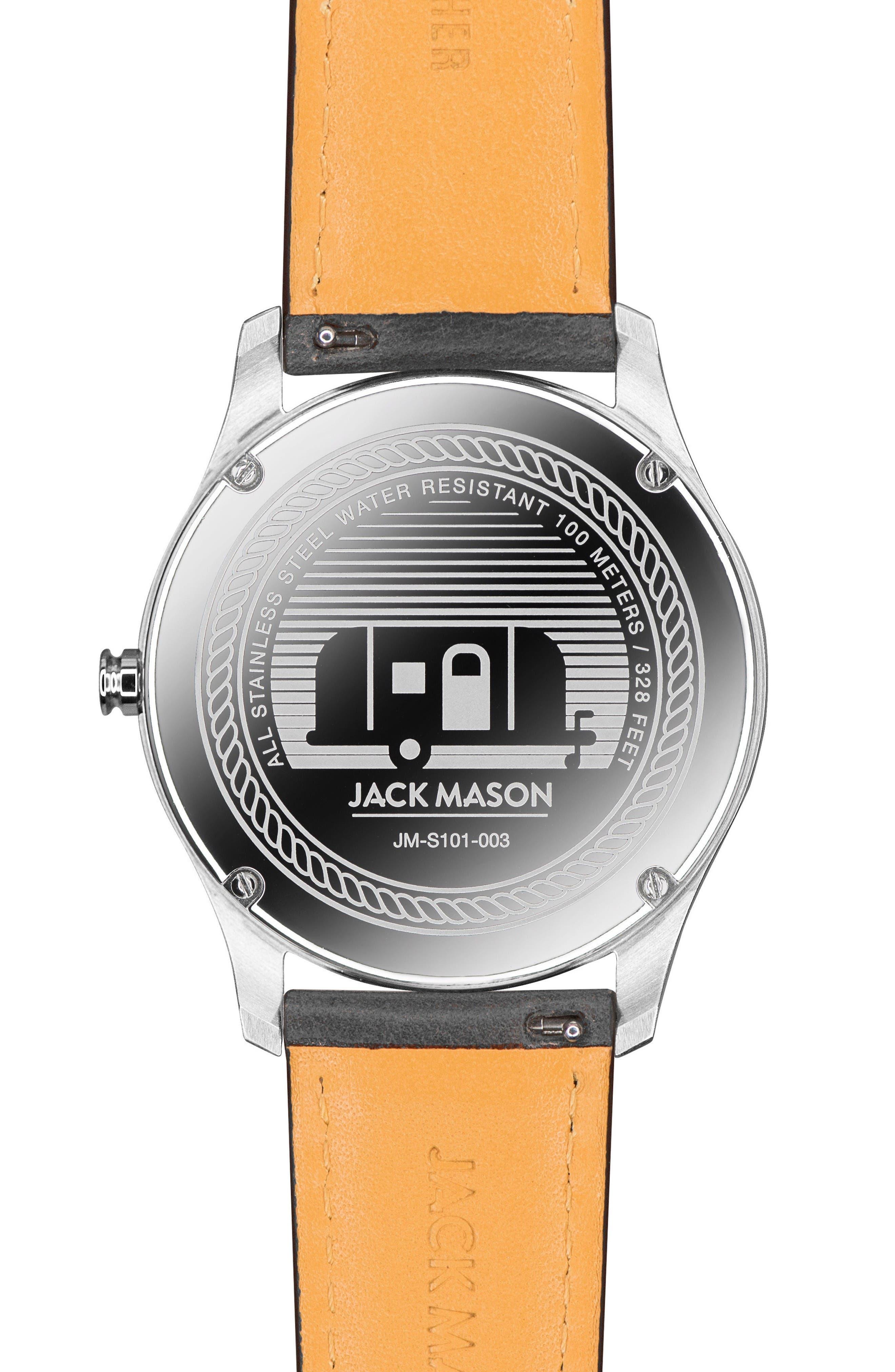 Slim Leather Strap Watch, 42mm,                             Alternate thumbnail 2, color,                             Black/ Black