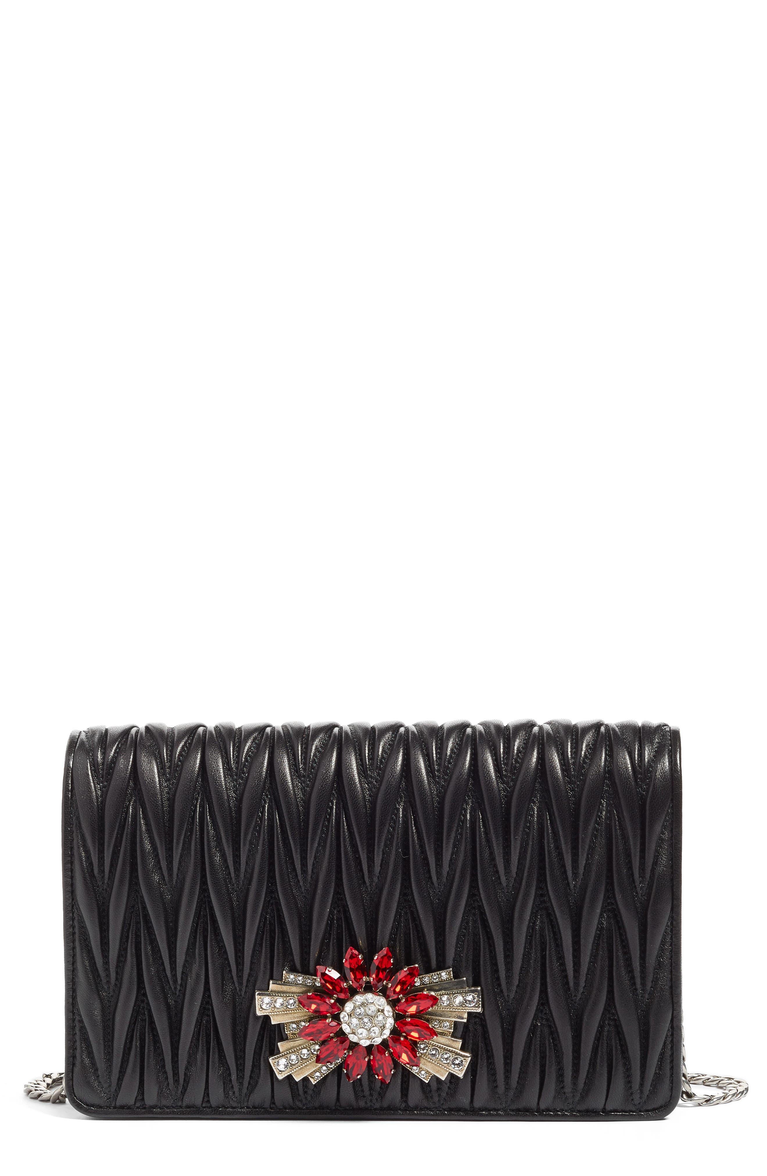 Delice Matelassé Leather Wallet on a Chain,                             Main thumbnail 1, color,                             Nero