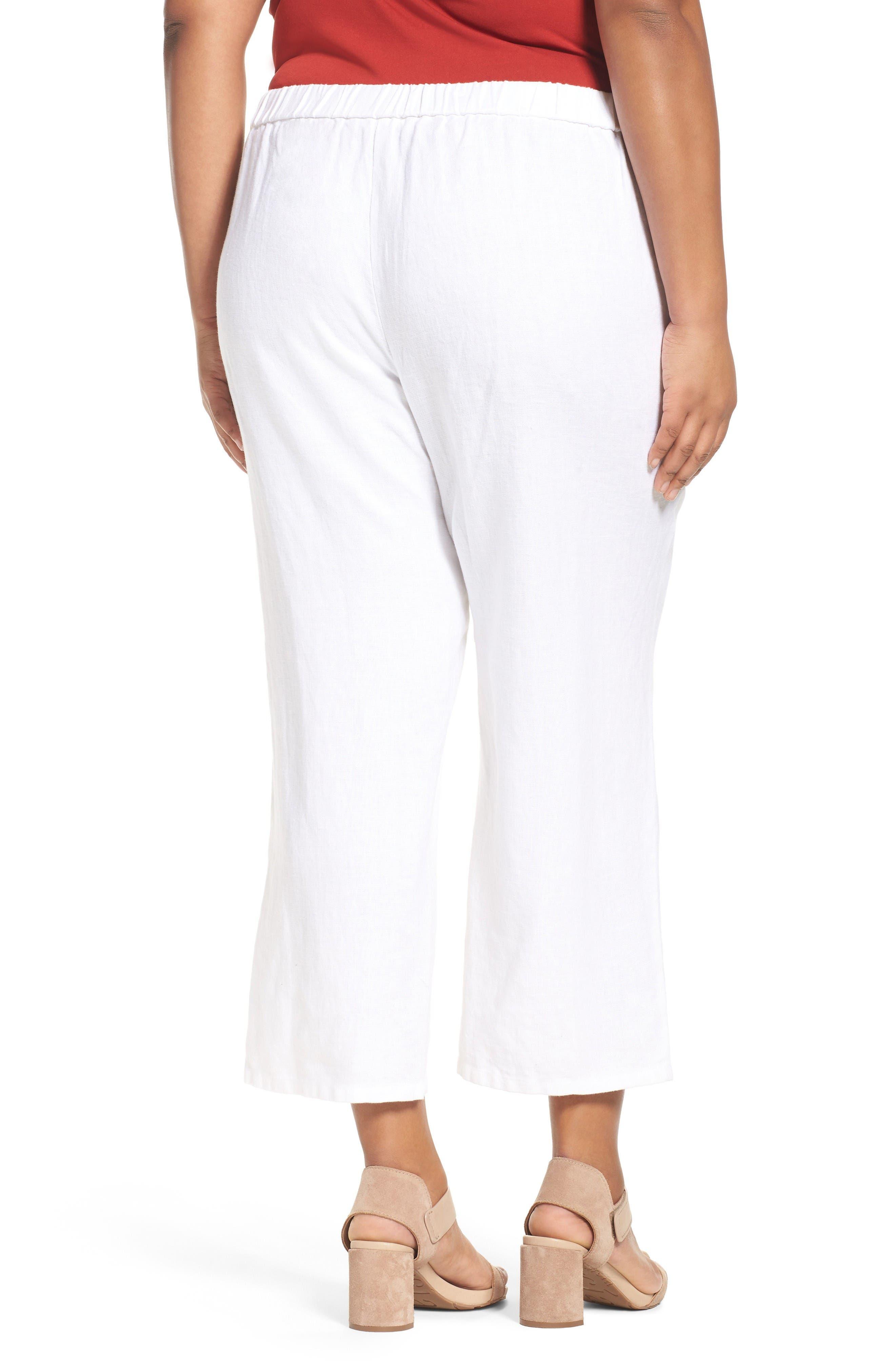 Alternate Image 2  - Eileen Fisher Organic Linen Wide Leg Crop Pants (Plus Size)