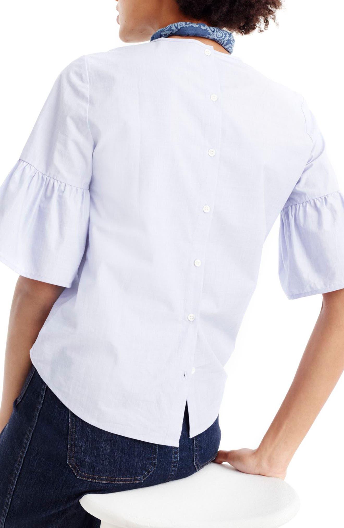 Alternate Image 2  - J.Crew Bell Sleeve Button Back Top (Regular & Petite)
