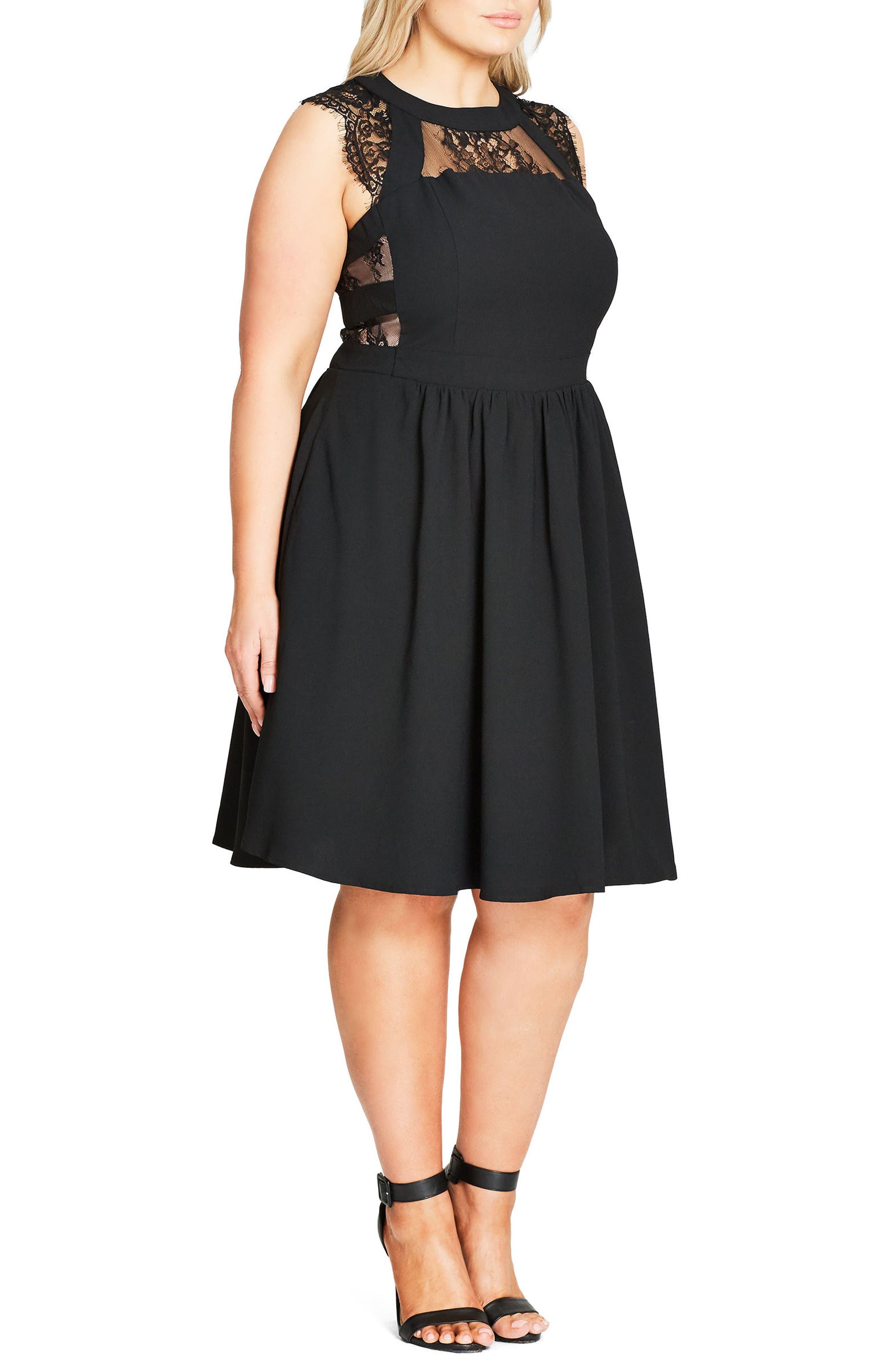 Cage Dress,                             Alternate thumbnail 3, color,                             Black
