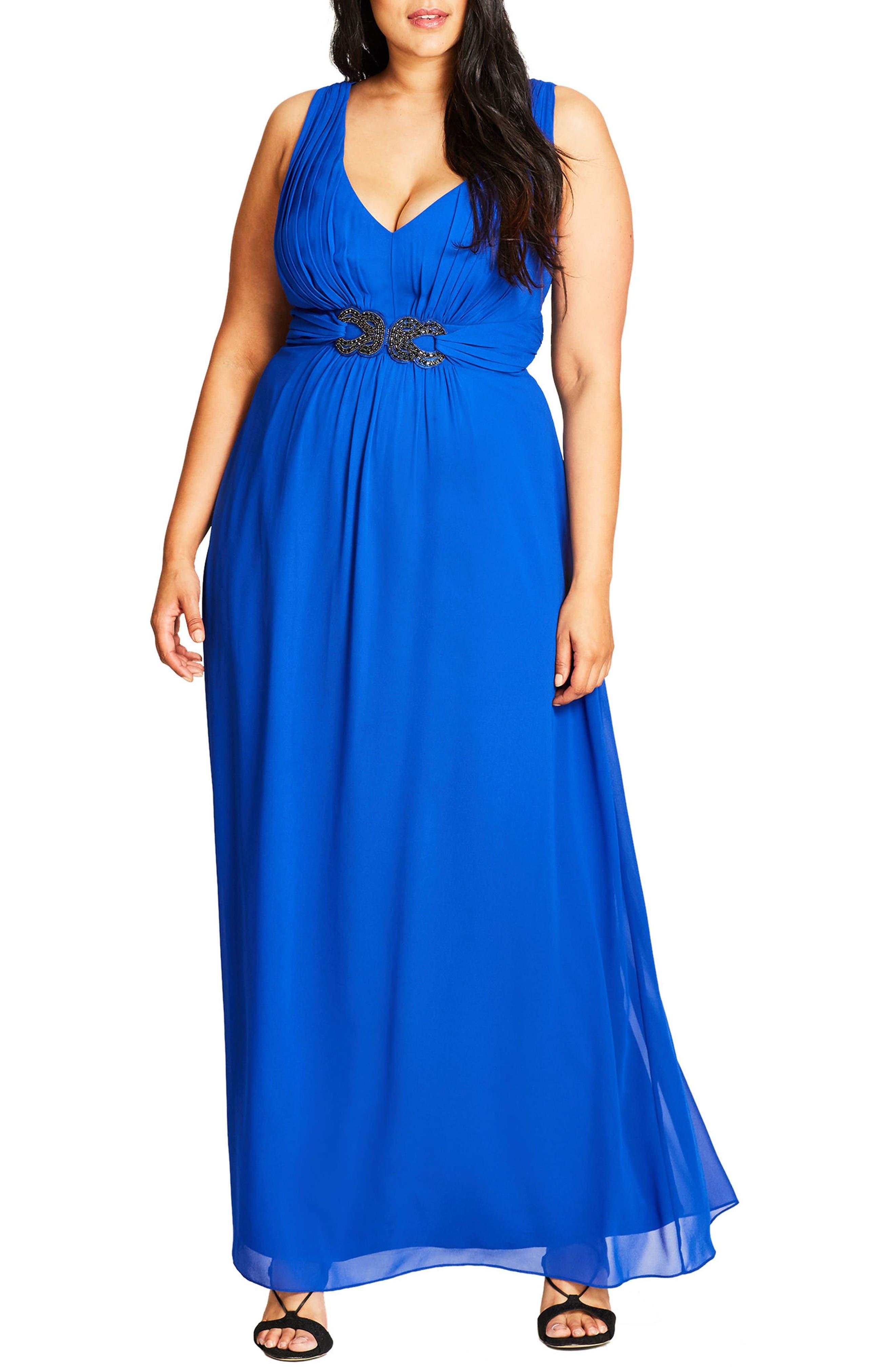 City Chic 'Elegant Sparkle' Embellished Maxi Dress (Plus Size)