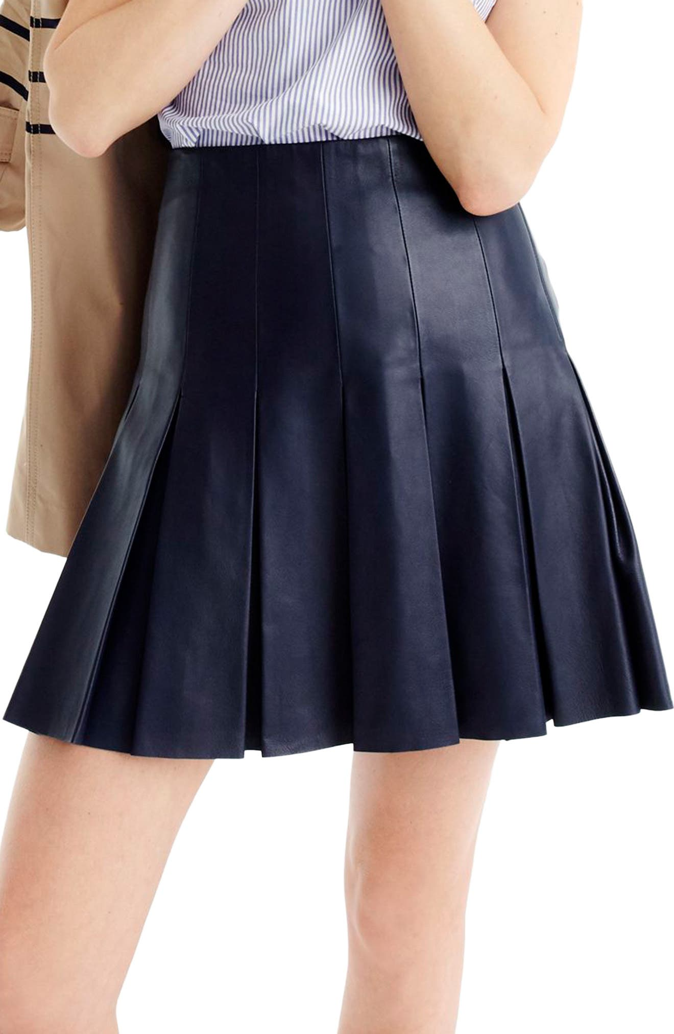 Main Image - J.Crew Collection Drop Pleat Leather Skirt