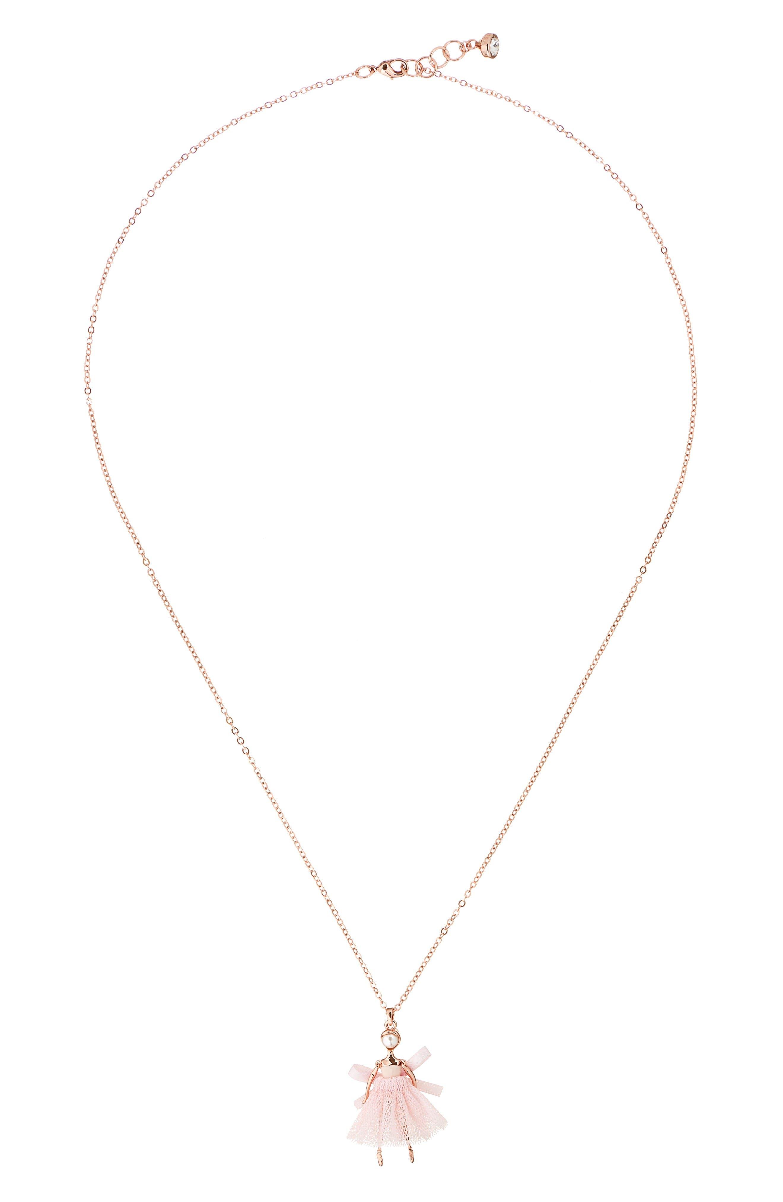 Carabel Ballerina Pendant Necklace,                             Main thumbnail 1, color,                             Nude Pink