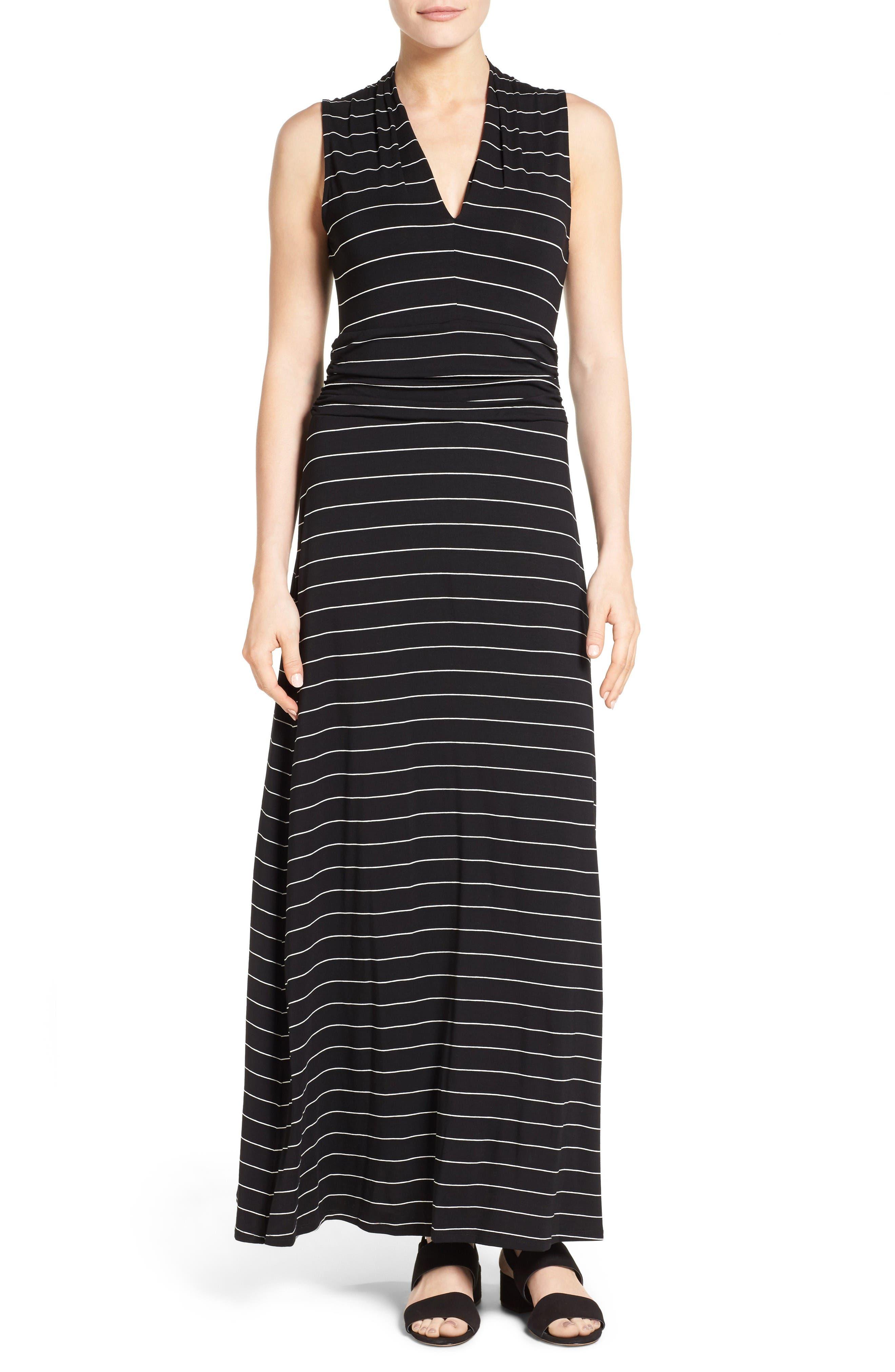 Stripe Maxi Dress,                         Main,                         color, Rich Black