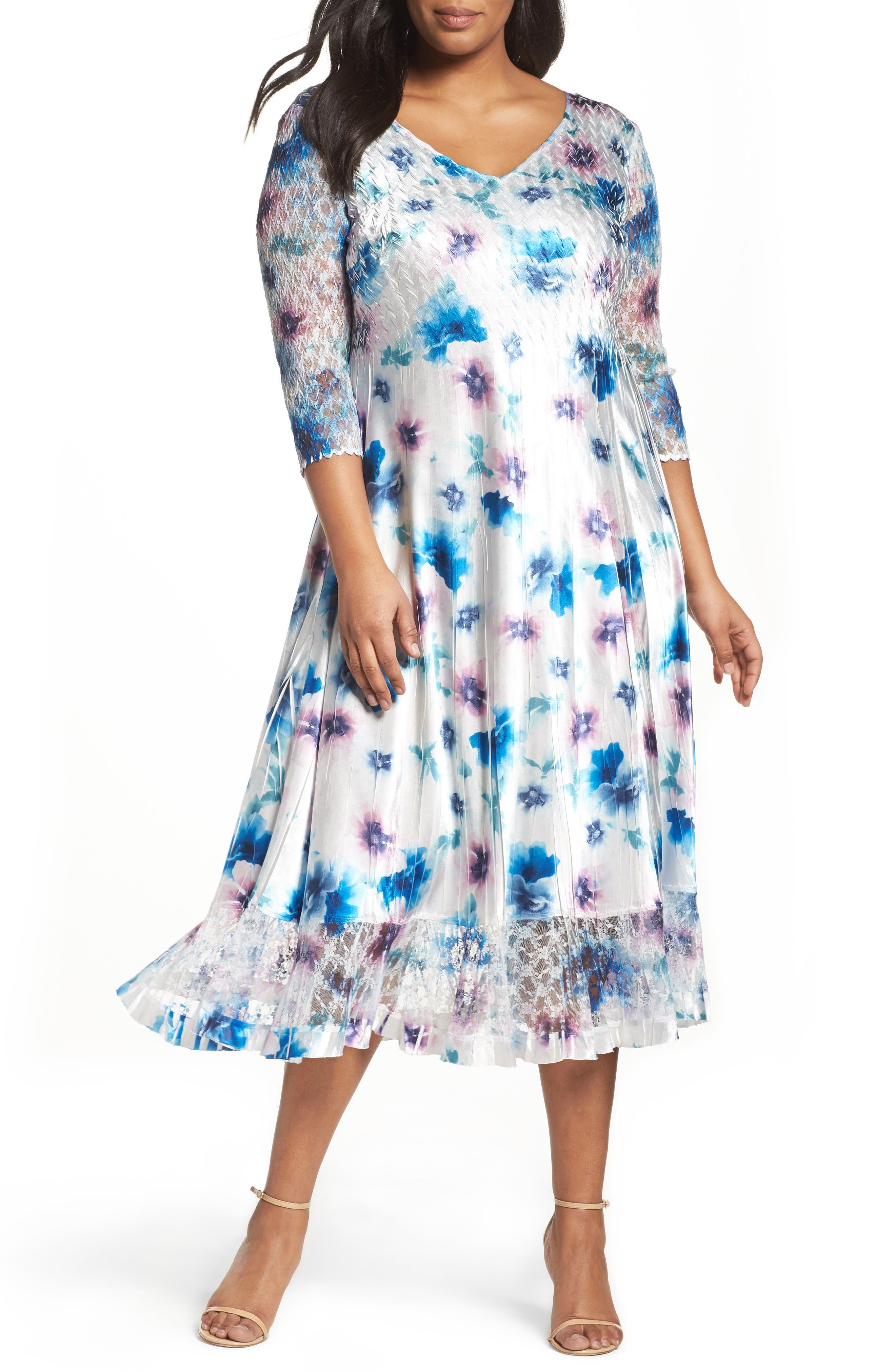Floral Charmeuse & Chiffon A-Line Dress,                         Main,                         color, Meadow Mist