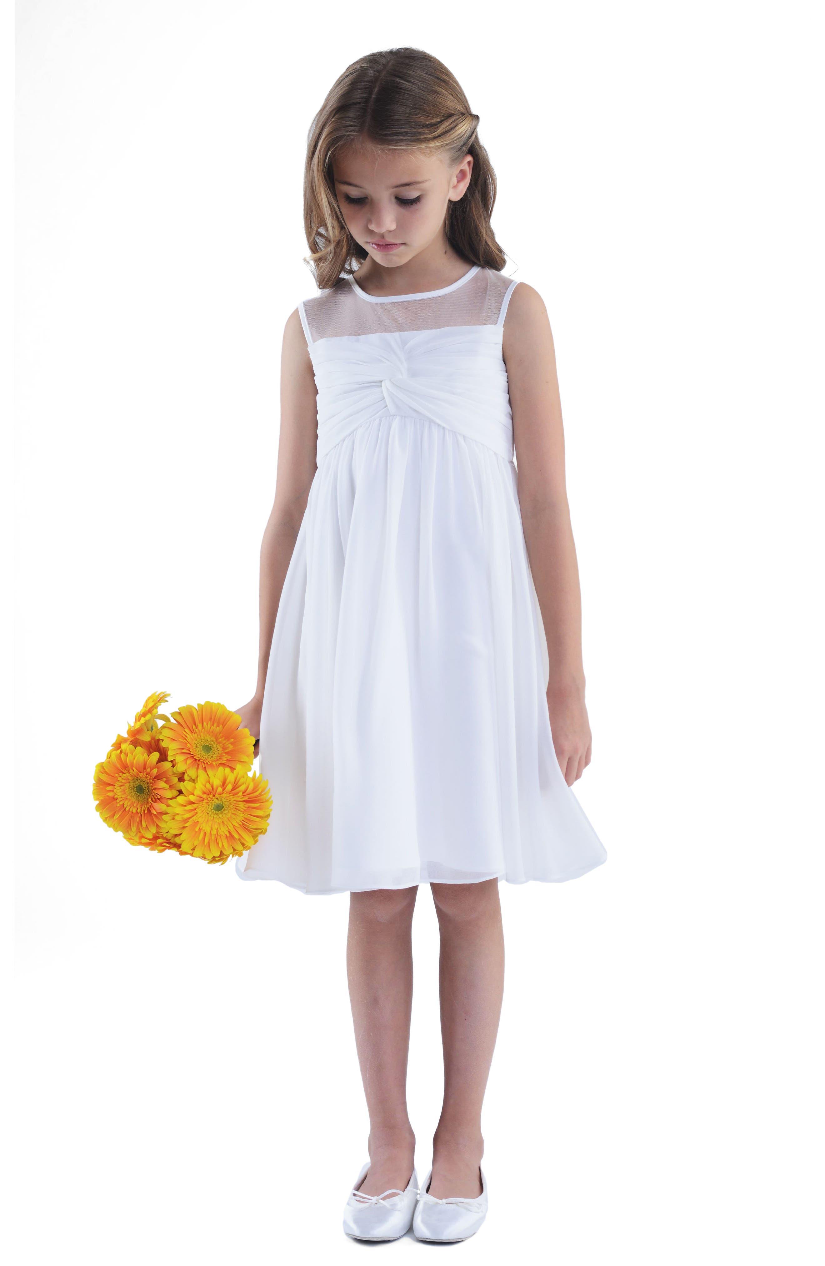 Illusion Neckline Dress,                         Main,                         color, Ivory